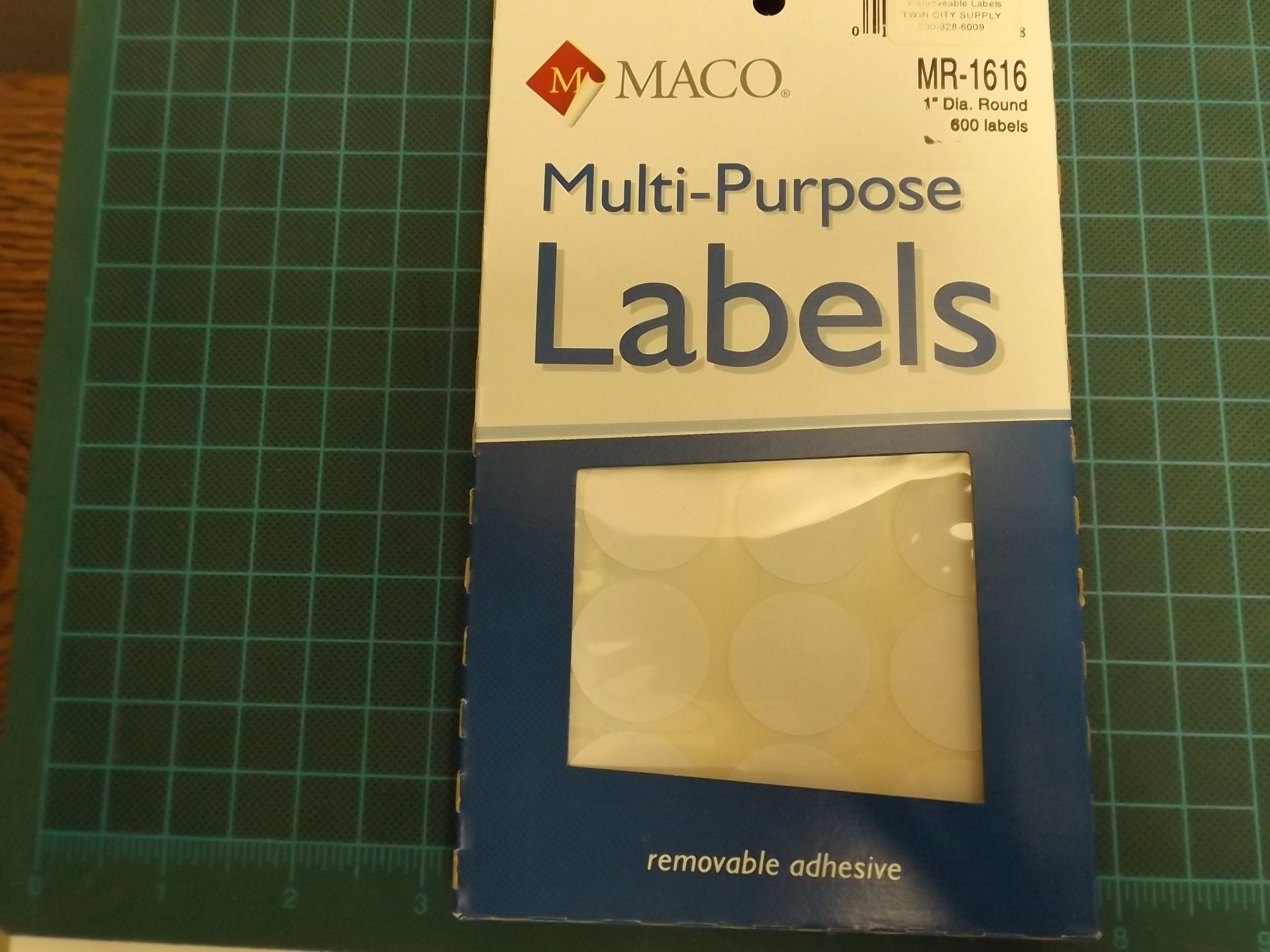 MT1616R Maco White Removeable Adhesive Multi-Purpose Labels--Round