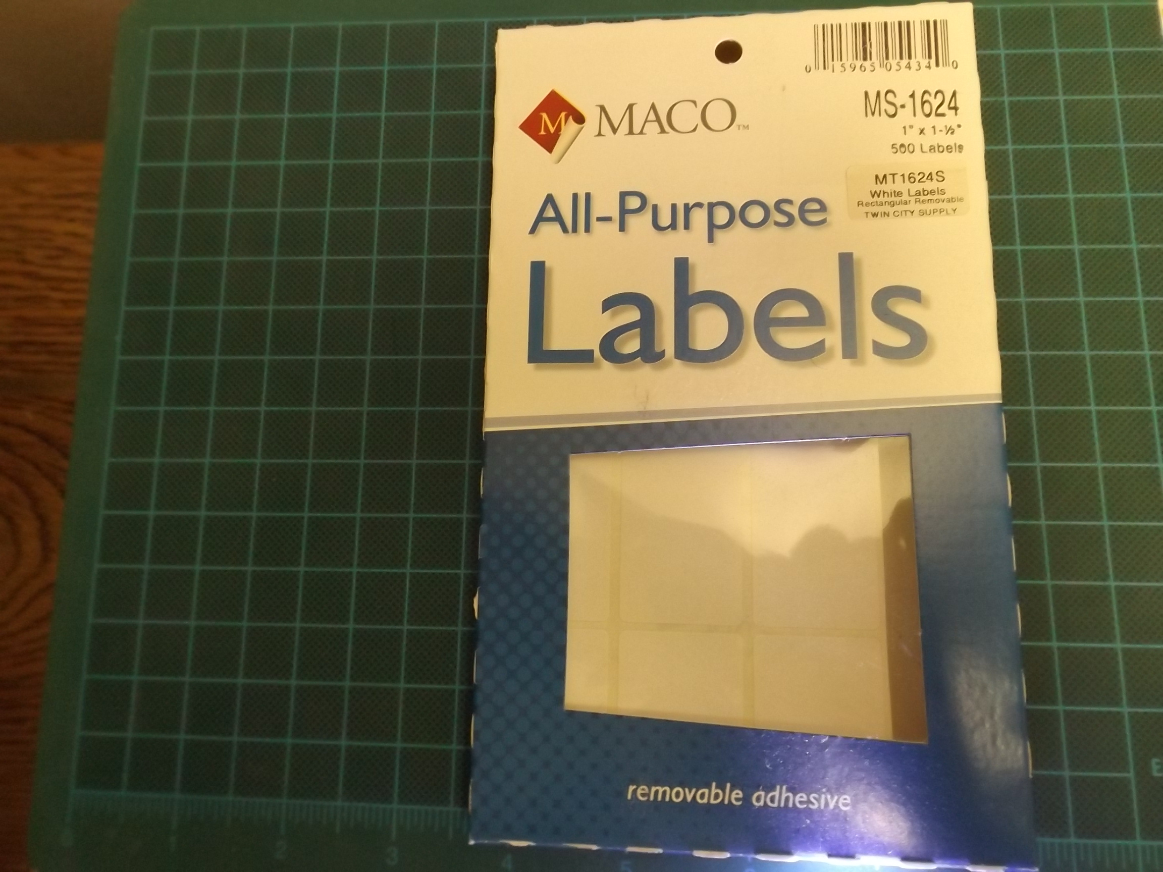 MT1624S Maco White Removeable Adhesive Multi-Purpose Labels--Rectangular