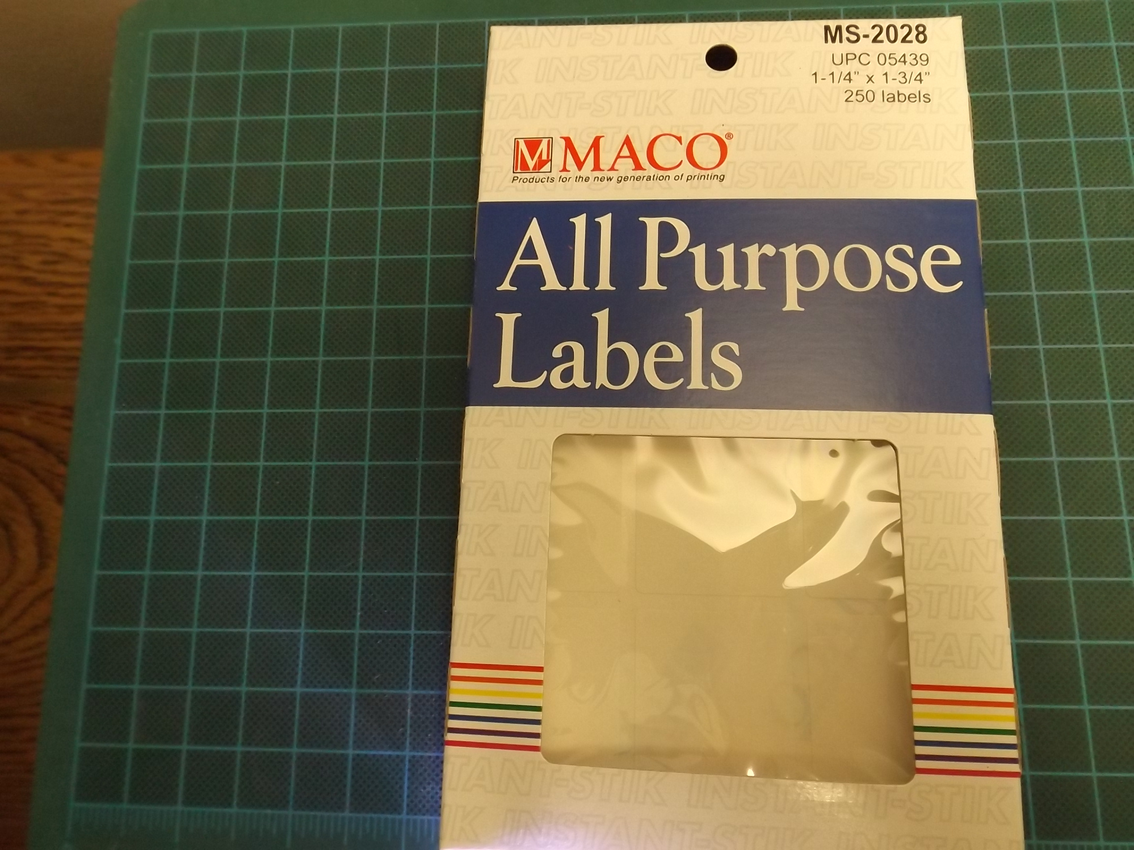 MT2028R Maco White Removeable Adhesive Multi-Purpose Labels--Rectangular