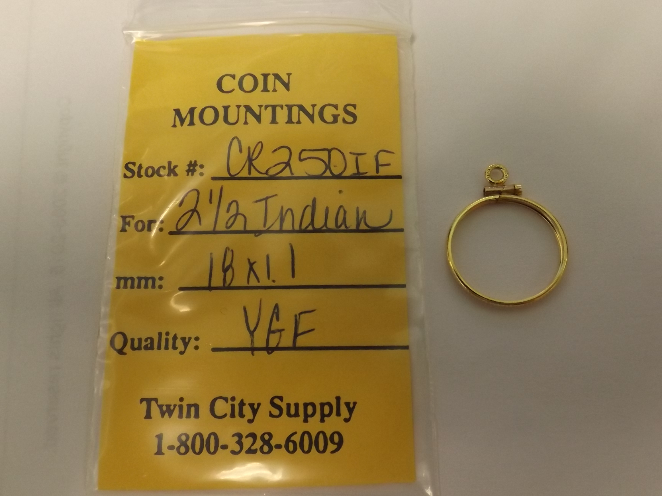 CR250IF American Coin Mounting--$2.50 Indian-Yellow Gold Filled- Closeout!