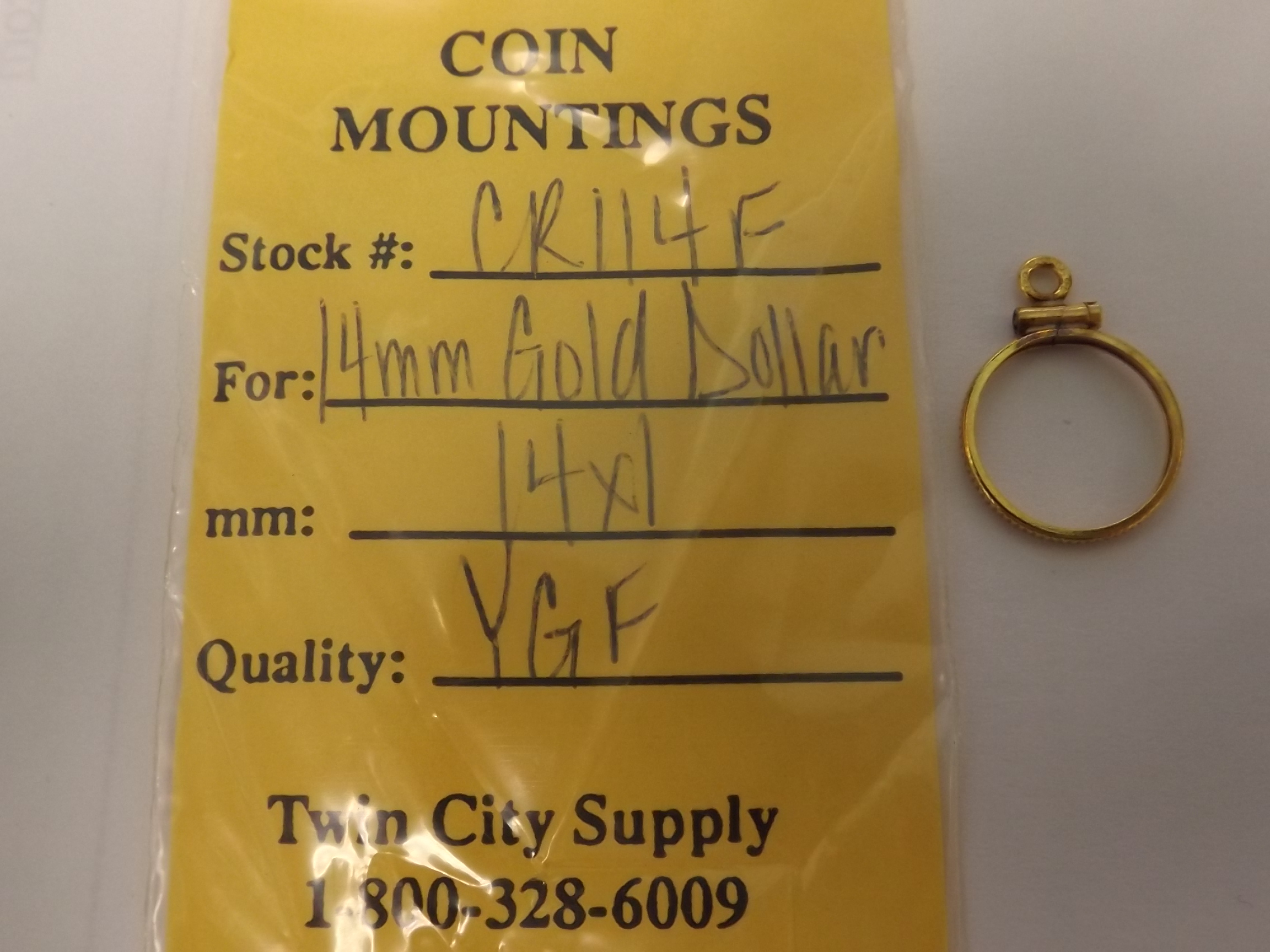 CR114F American Coin Mounting--14mm Gold Dollar-Yellow Gold Filled- Closeout!