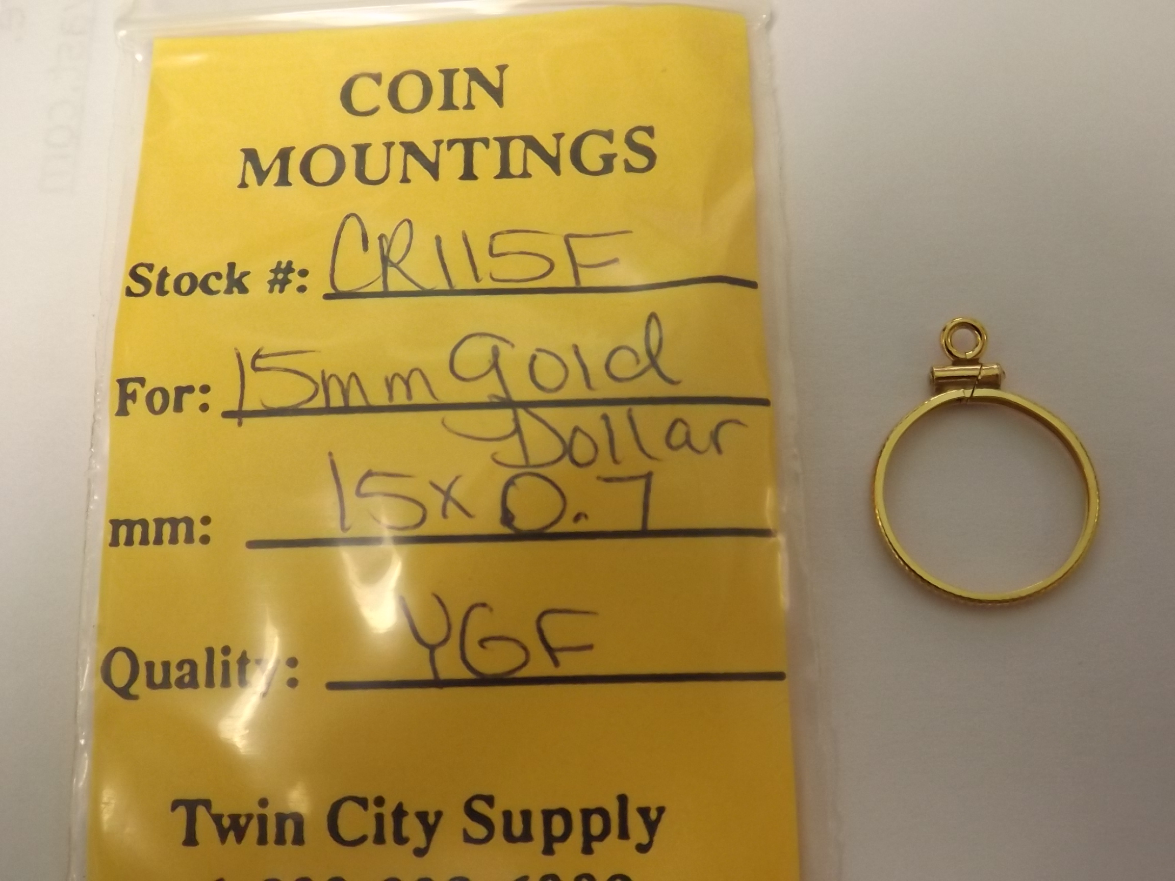 CR115F American Coin Mounting--15mm Gold Dollar-Yellow Gold Filled- Closeout!