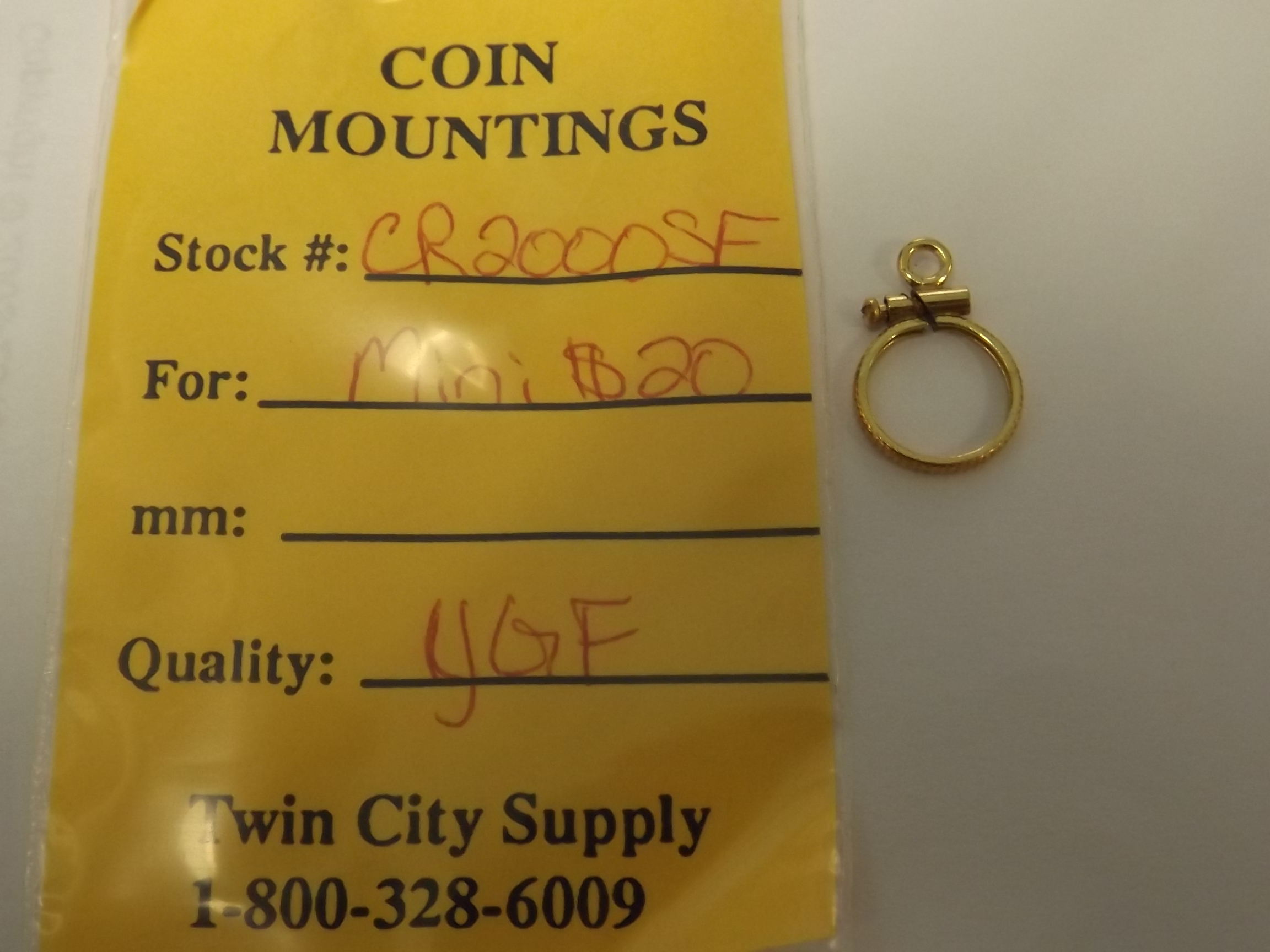 CR2000SF American Coin Mounting--Mini $20-Yellow Gold Filled- Closeout!