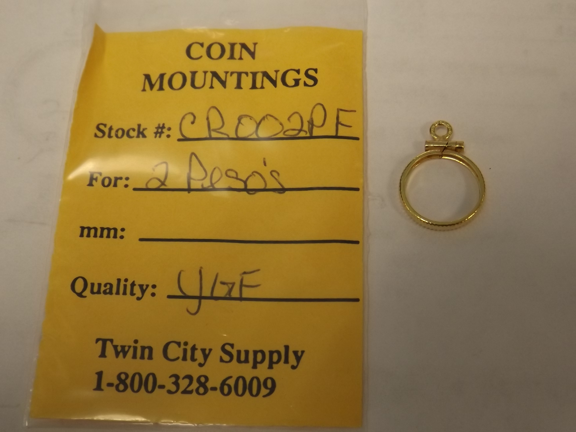 CR002PF Mexican Coin Mounting--Two Pesos-Yellow Gold Filled Closeout!