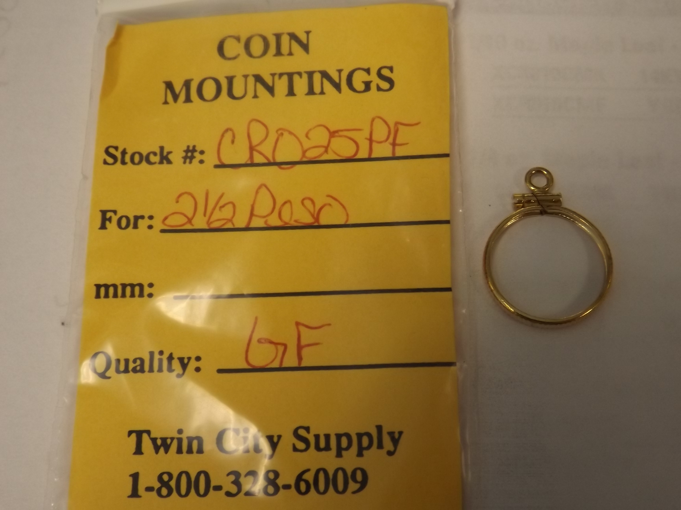 CR025PF Mexican Coin Mounting--2 1/2 Pesos-Yellow Gold Filled Closeout!