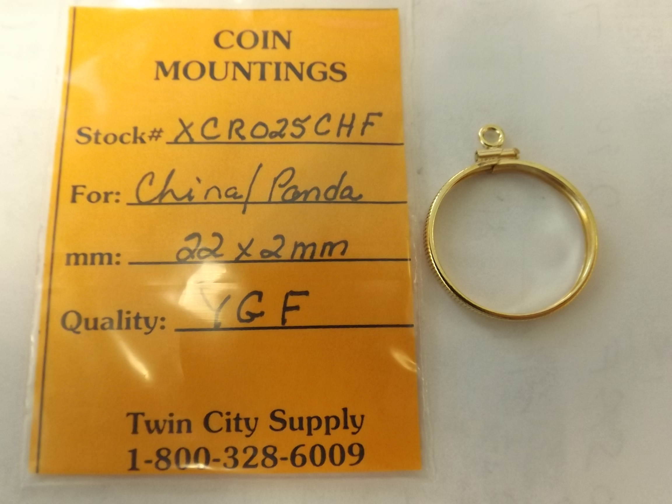 CR025CHF Chinese Coin Mounting-- 1/4 Ounce Panda-Yellow Gold Filled Closeout!