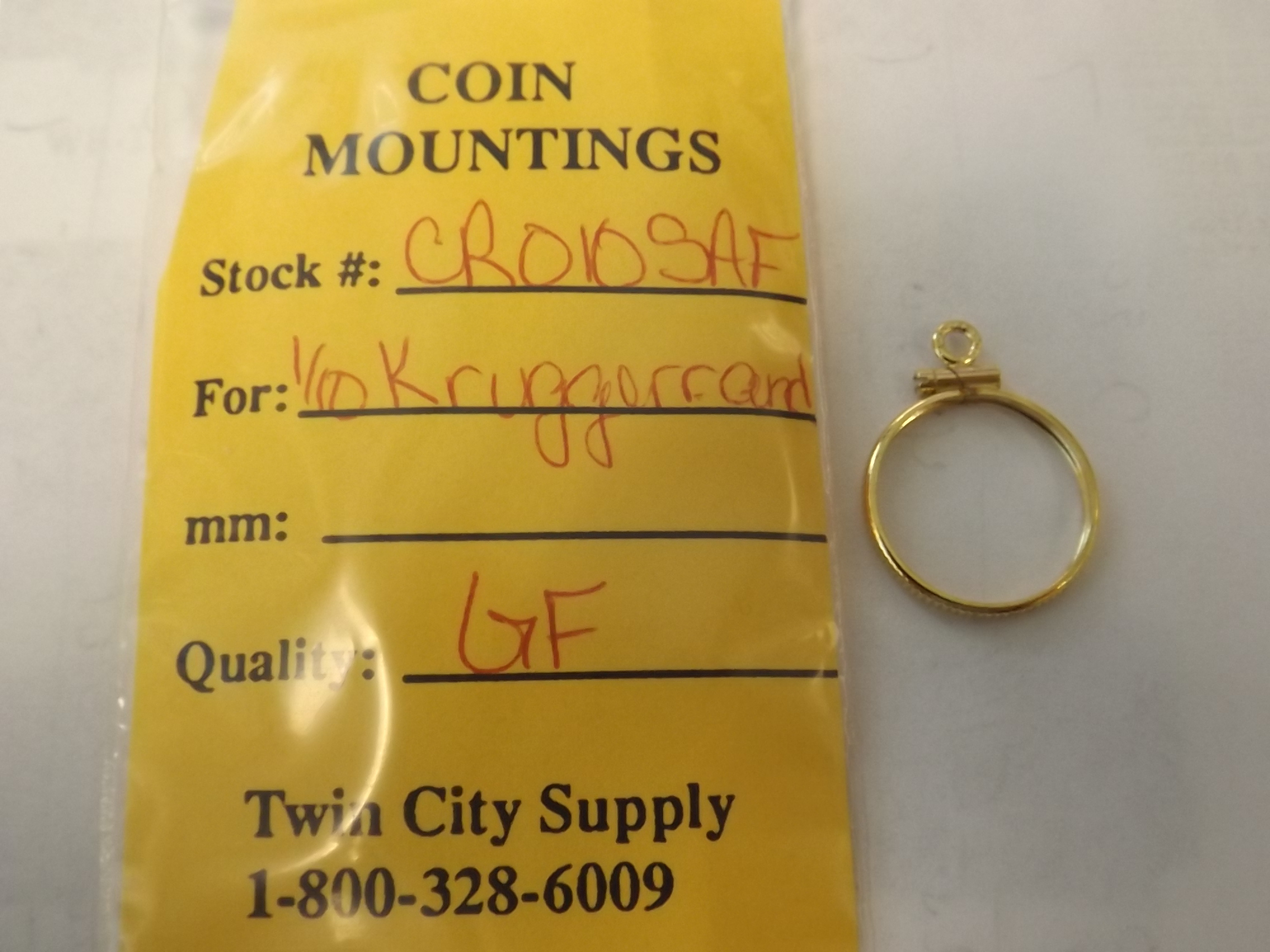 CR010SAF South African Coin Mounting-- 1/10 Ounce Krugerrand-Yellow Gold Filled Closeout!