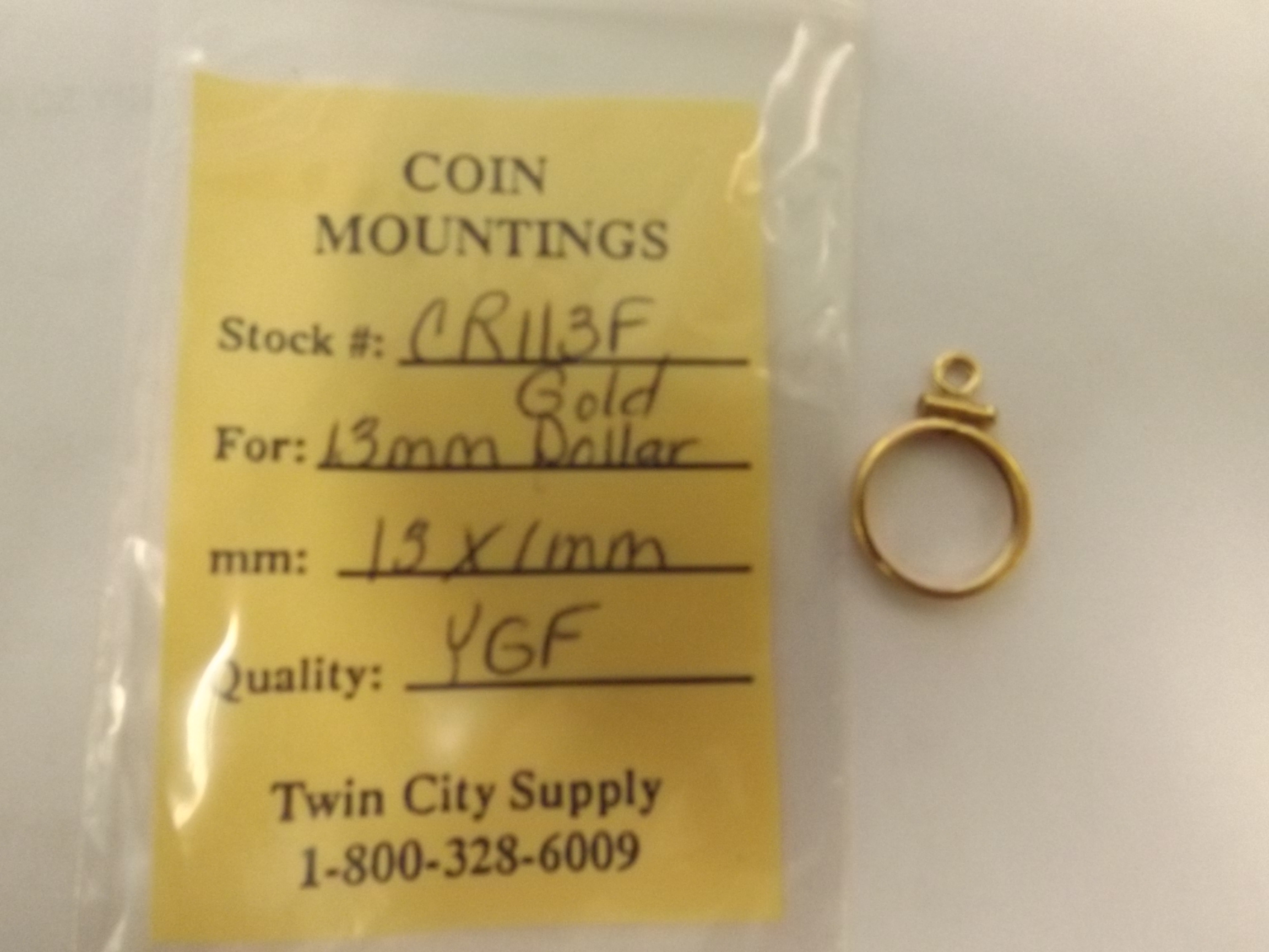 CR113F American Coin Mounting--13mm Gold Dollar-Yellow Gold Filled- Closeout!