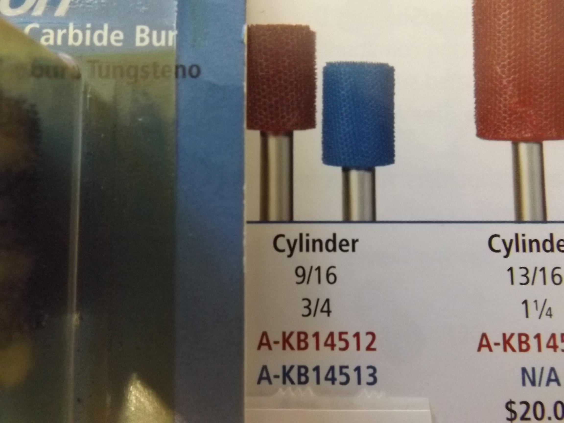 "KB14513 Typhoon Burs- by Foredom- 1/4"" Shank Fine (Blue) Cylinder--last one!"
