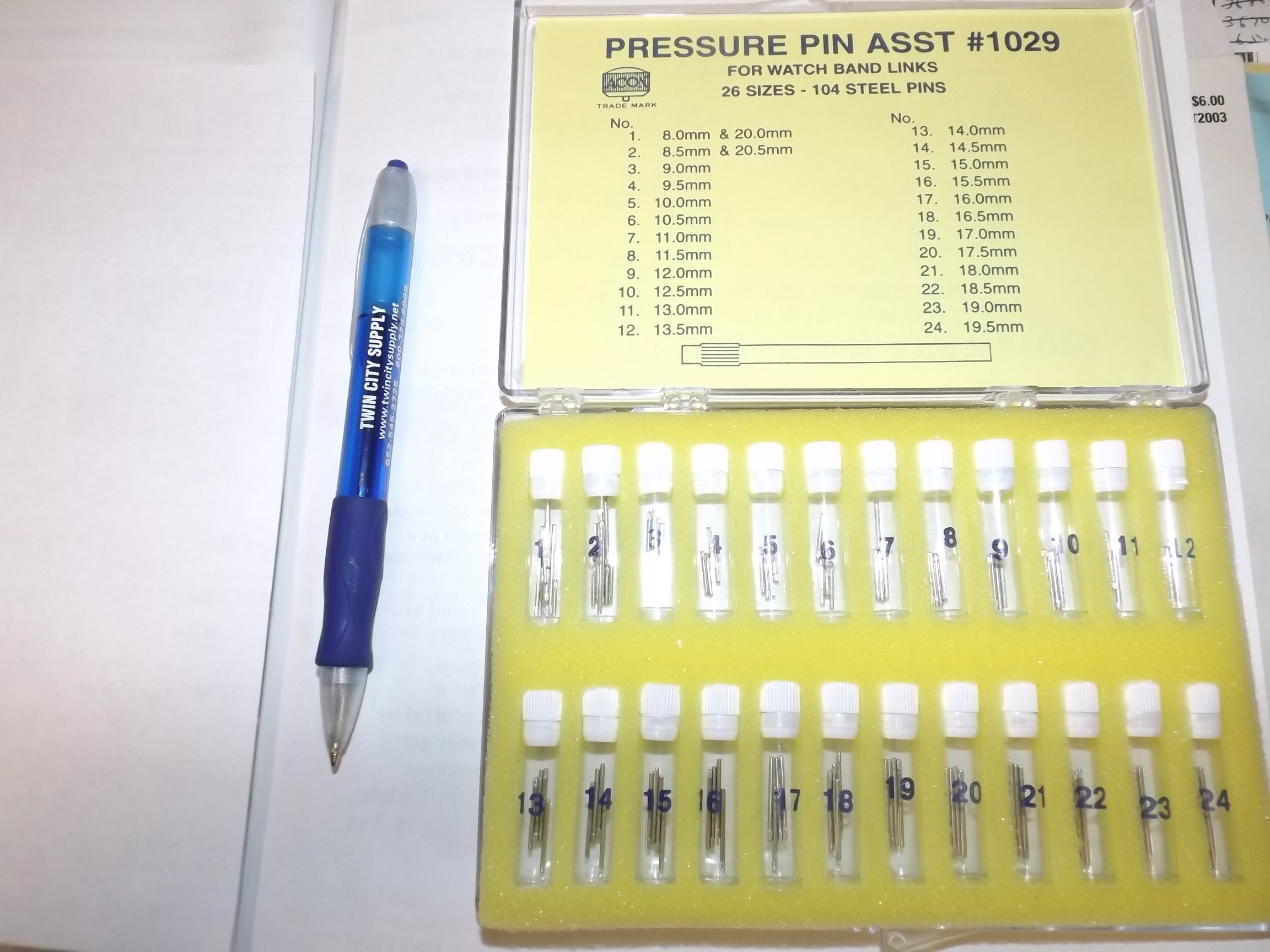 PP1029 Pressure Pin Assortment, for watch band links--26 sizes, 104 Steel Pins- Acon