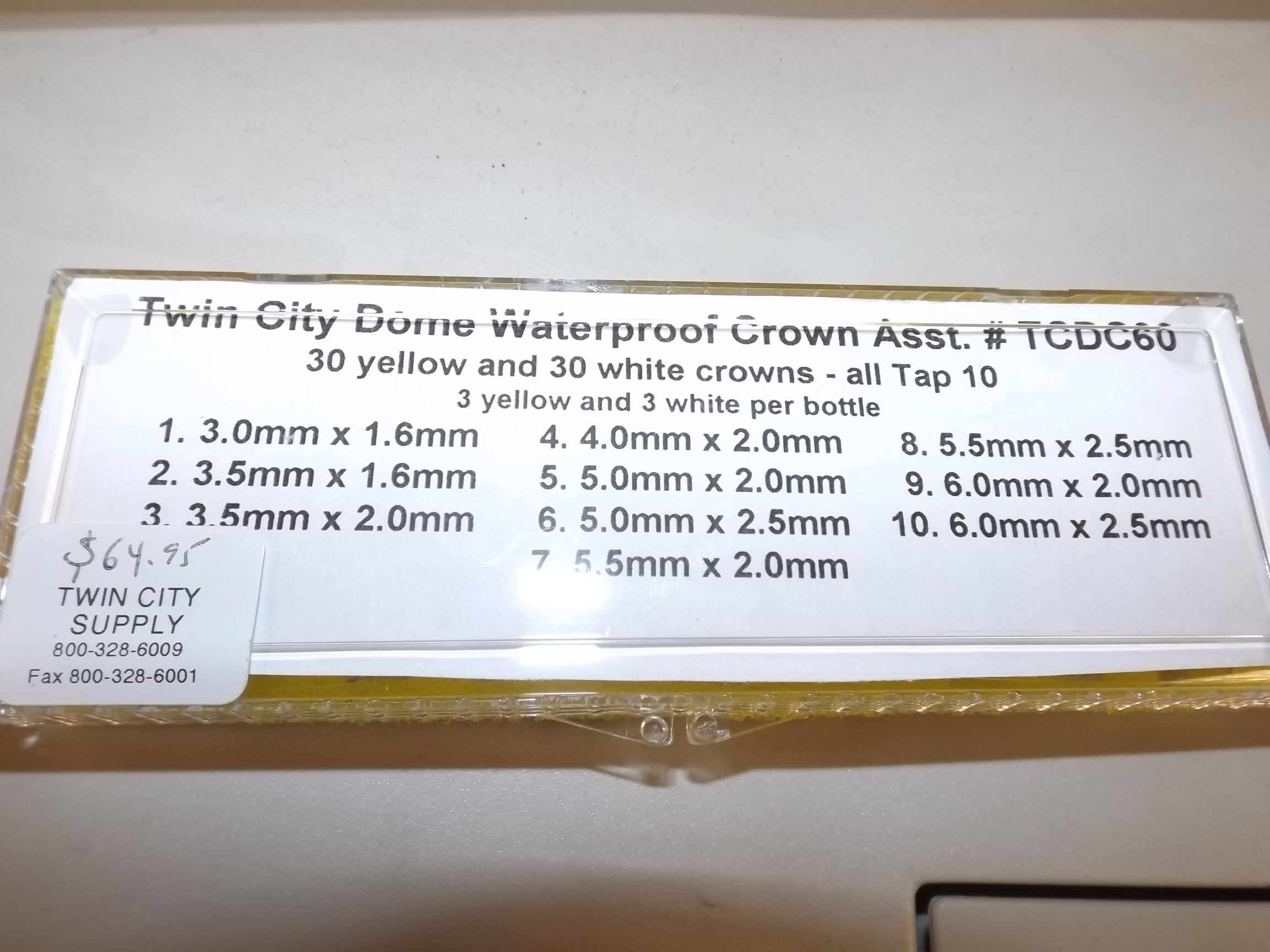 TCDC60  Acon Assortment of Domed Waterproof Tap 10 Watch Crowns 60 pc