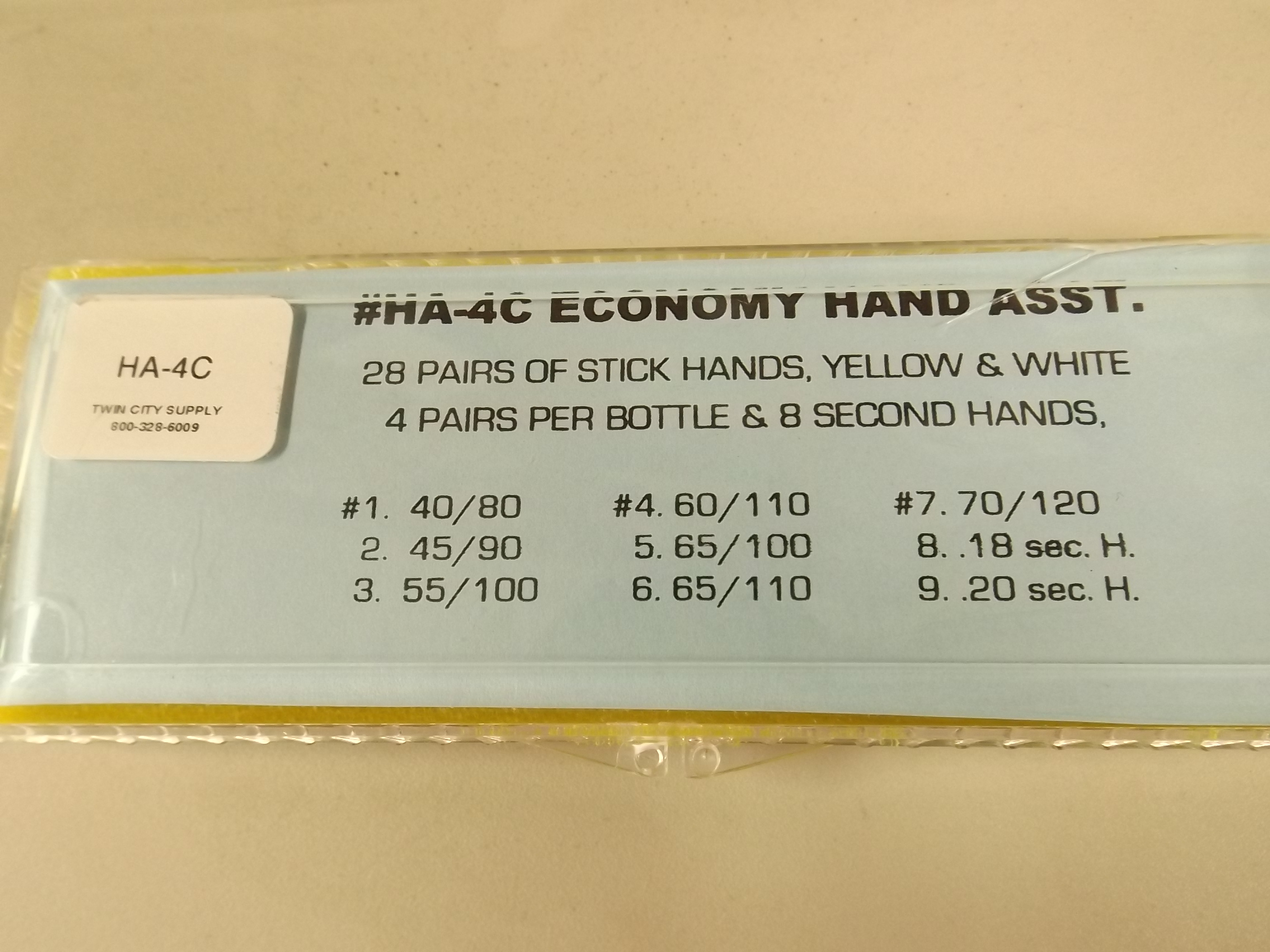 HA-4C New from Acon! 64 piece Assortment of Economy Stick Hands--Yellow & White