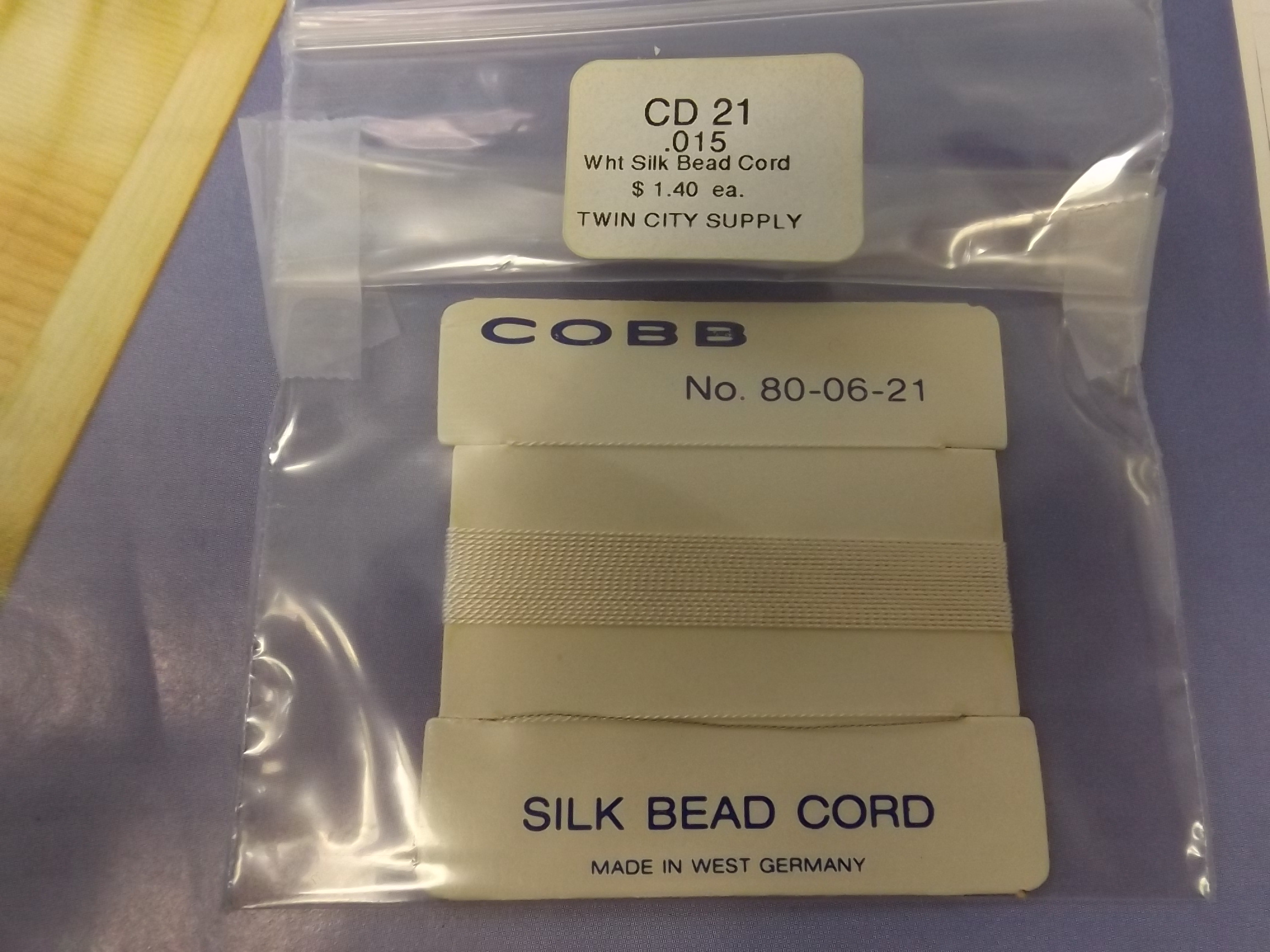 CD21 Cobb White Silk Bead Cord #80-06-21 -while supplies last!