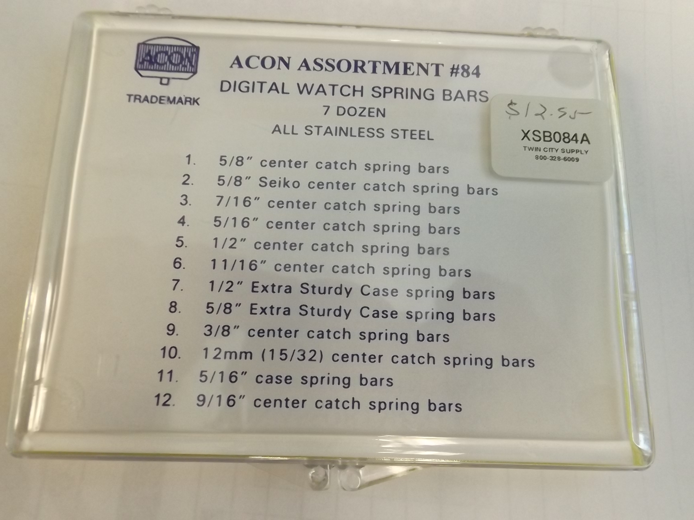 XSB084A Acon 84 Piece Center Catch & Case Spring Bar Assortment #84
