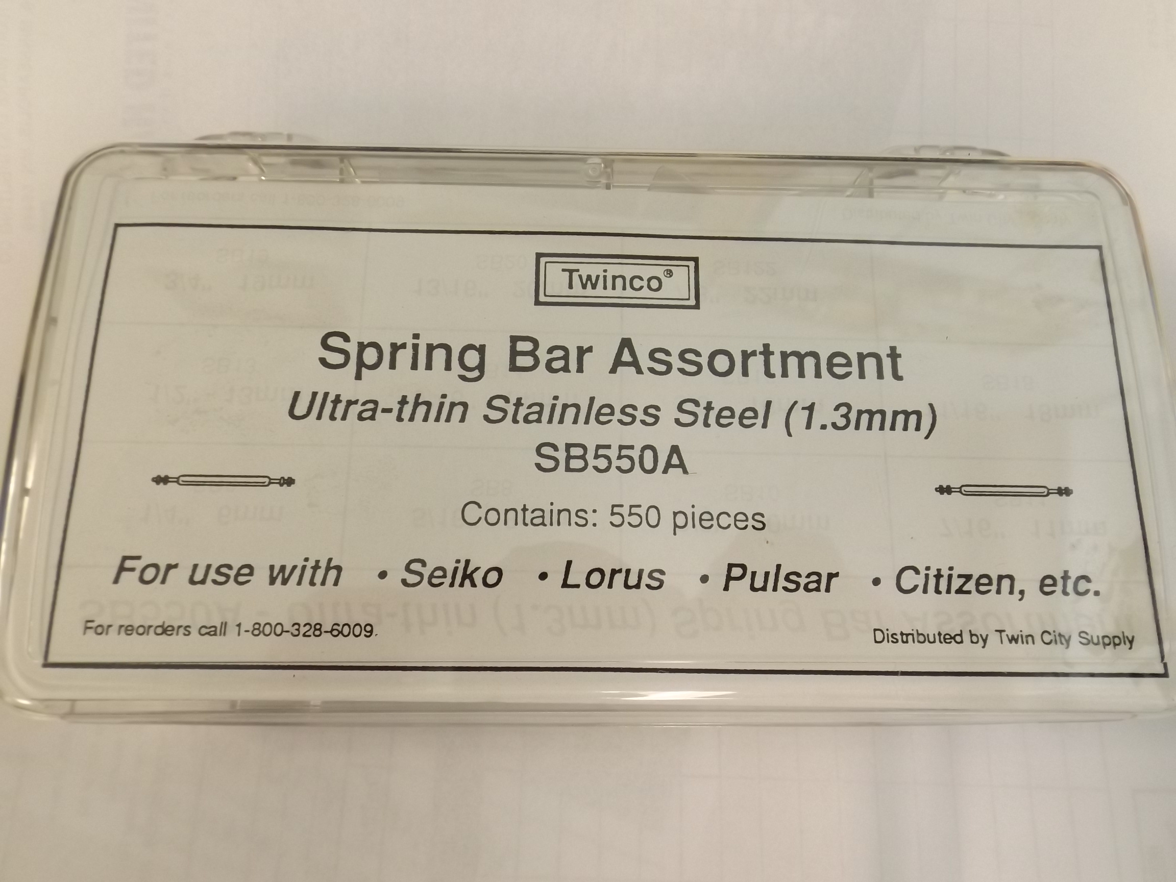 XSB550A Twinco Popular Ultra Thin 1.3mm thick 550 piece Spring Bar Assortment