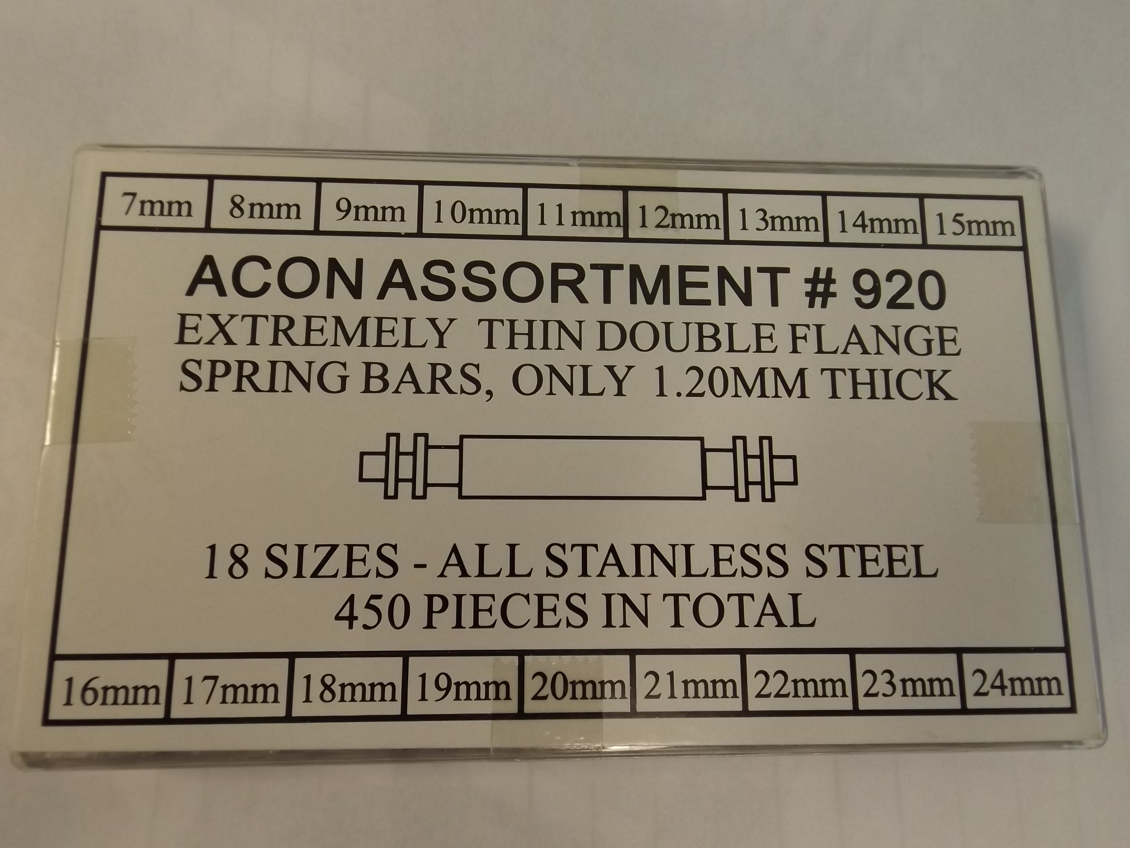 XSB920A Acon Extremely Thin 1.20mm Double Flange 450 piece Spring Bar Assortment