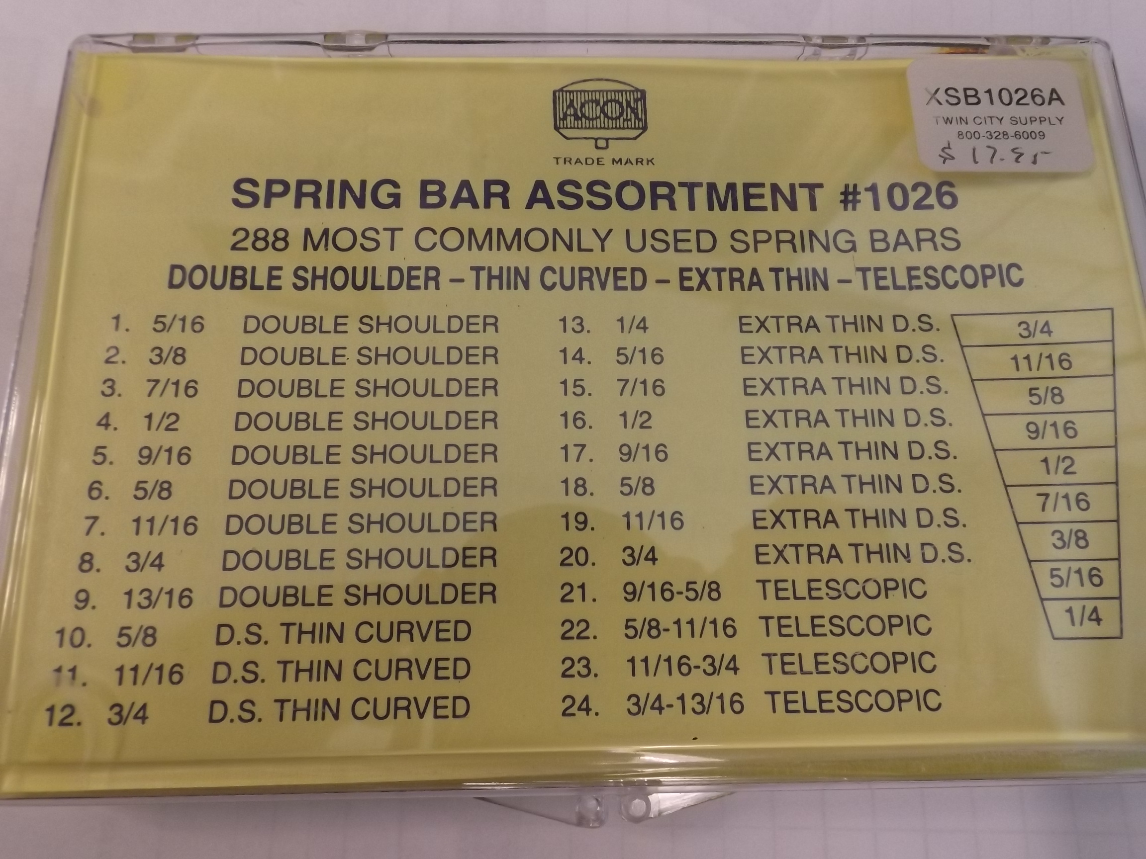 XSB1026A Acon Most Commonly Used 288 piece Spring Bar Assortment
