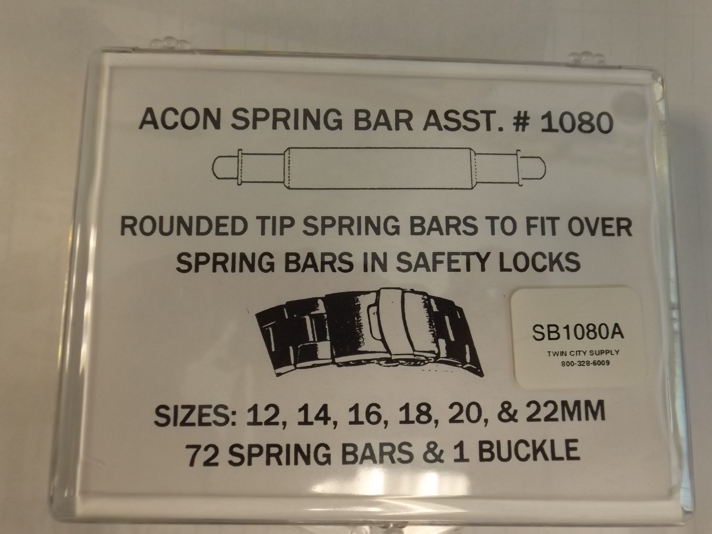 XSB1080A Acon Rounded Tip 72 piece Spring Bar Assortment