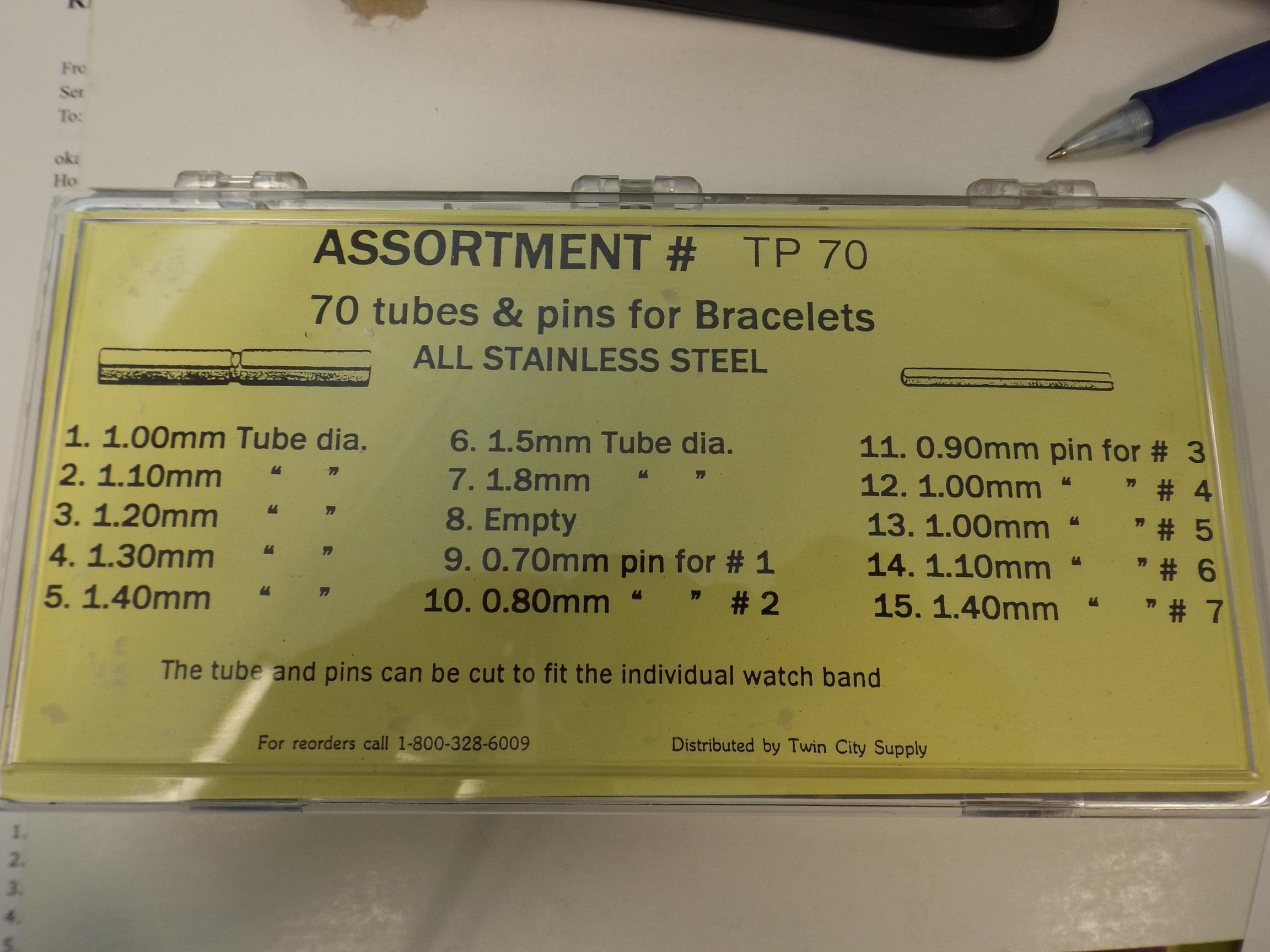 TP70 Tubes & Pins for Bracelets- 70 piece Assortment- Acon #595