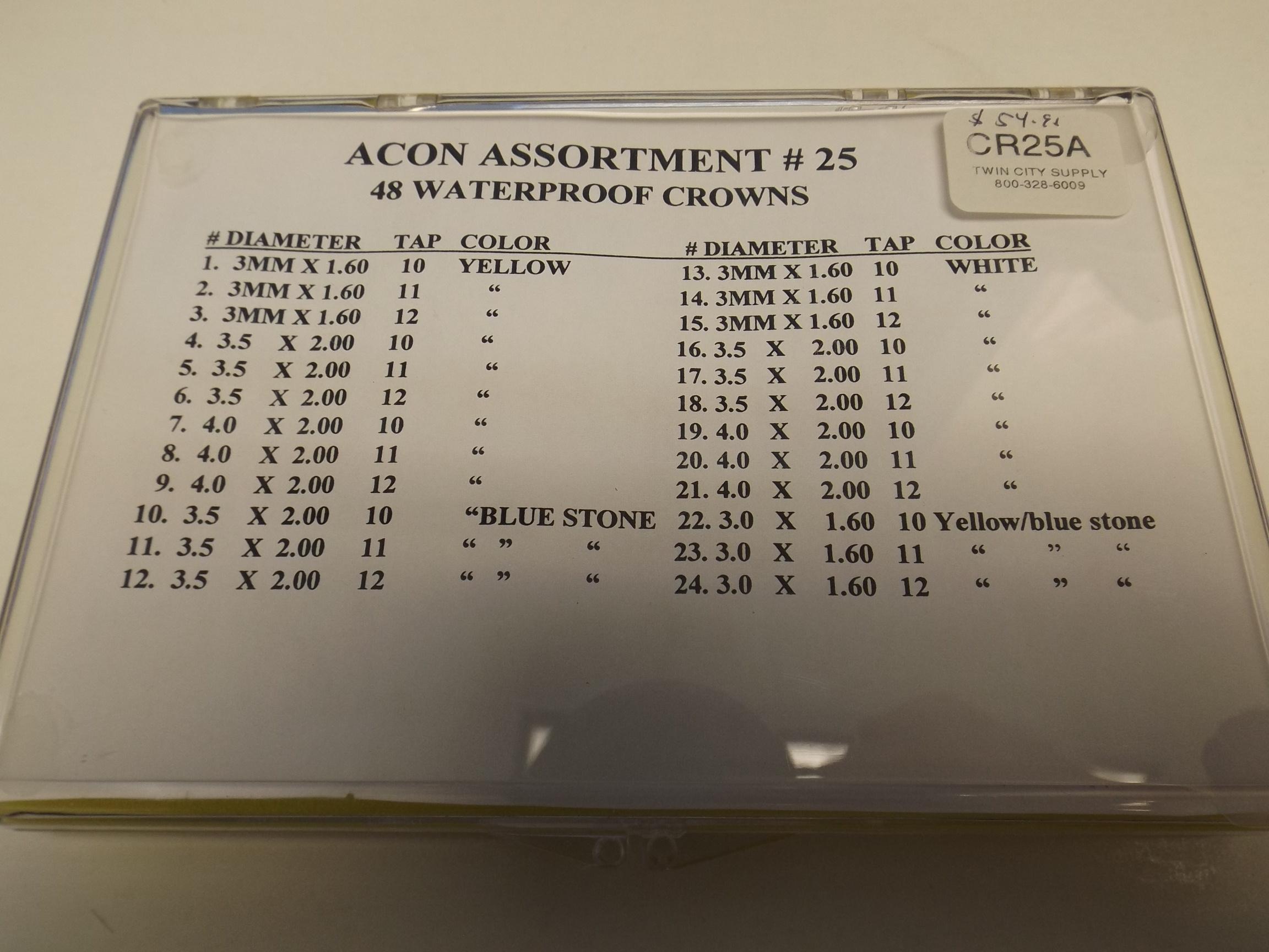 CR25A Waterproof Watch Crowns- 48 Piece Assortment-Acon