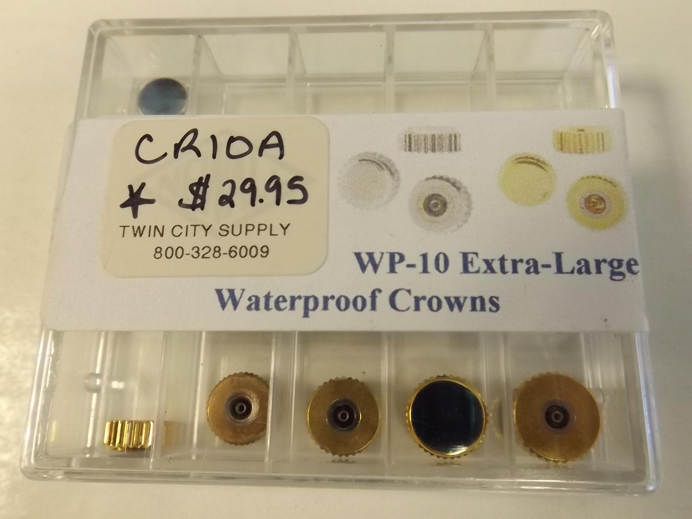CR10A  Newall Extra large Waterproof Watch Crowns- 10 Piece Assortment