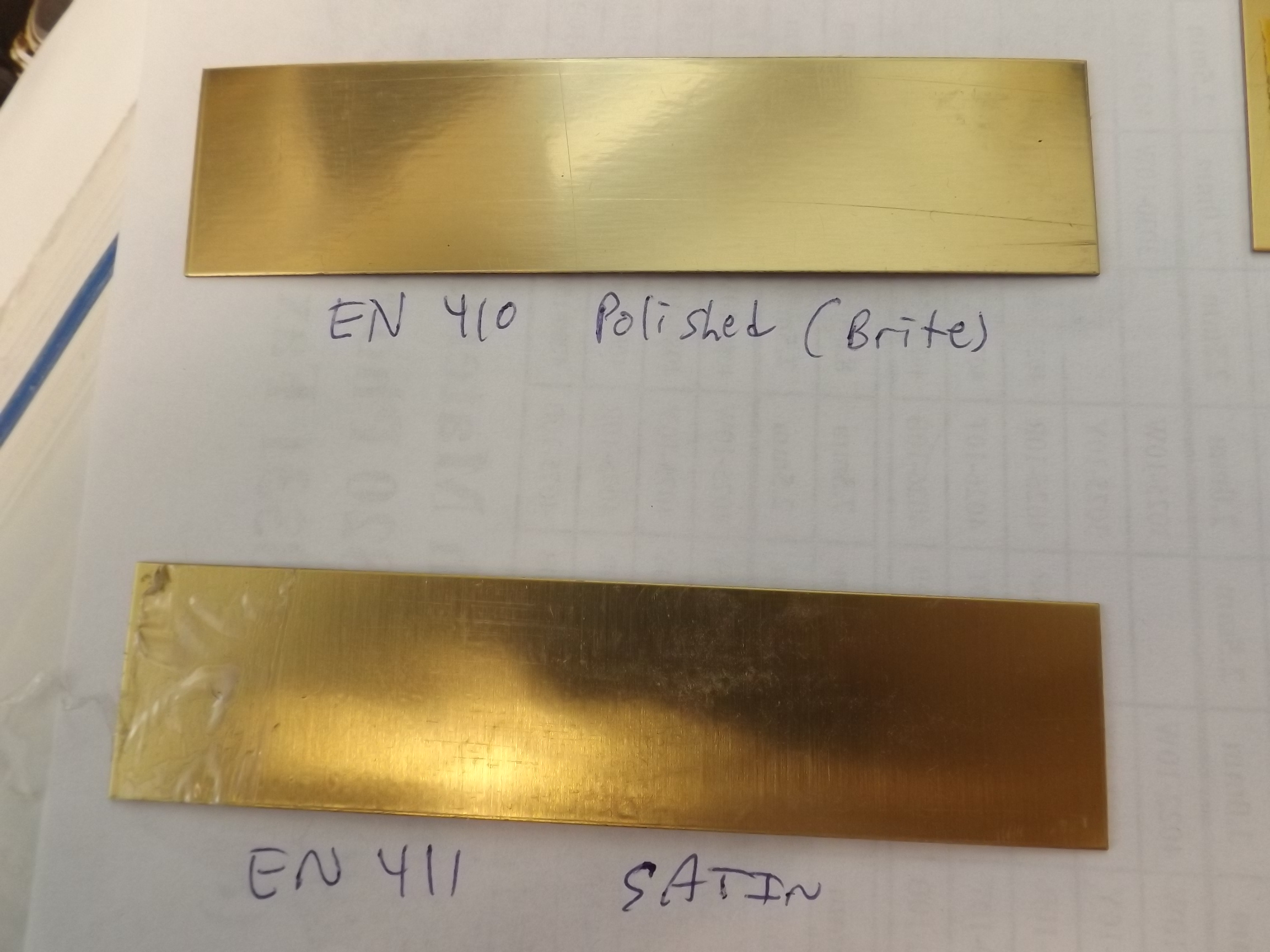 "EN410 Engraving/Trophy Plates-Brass 4"" x 1"" Polished (brite) Finish"