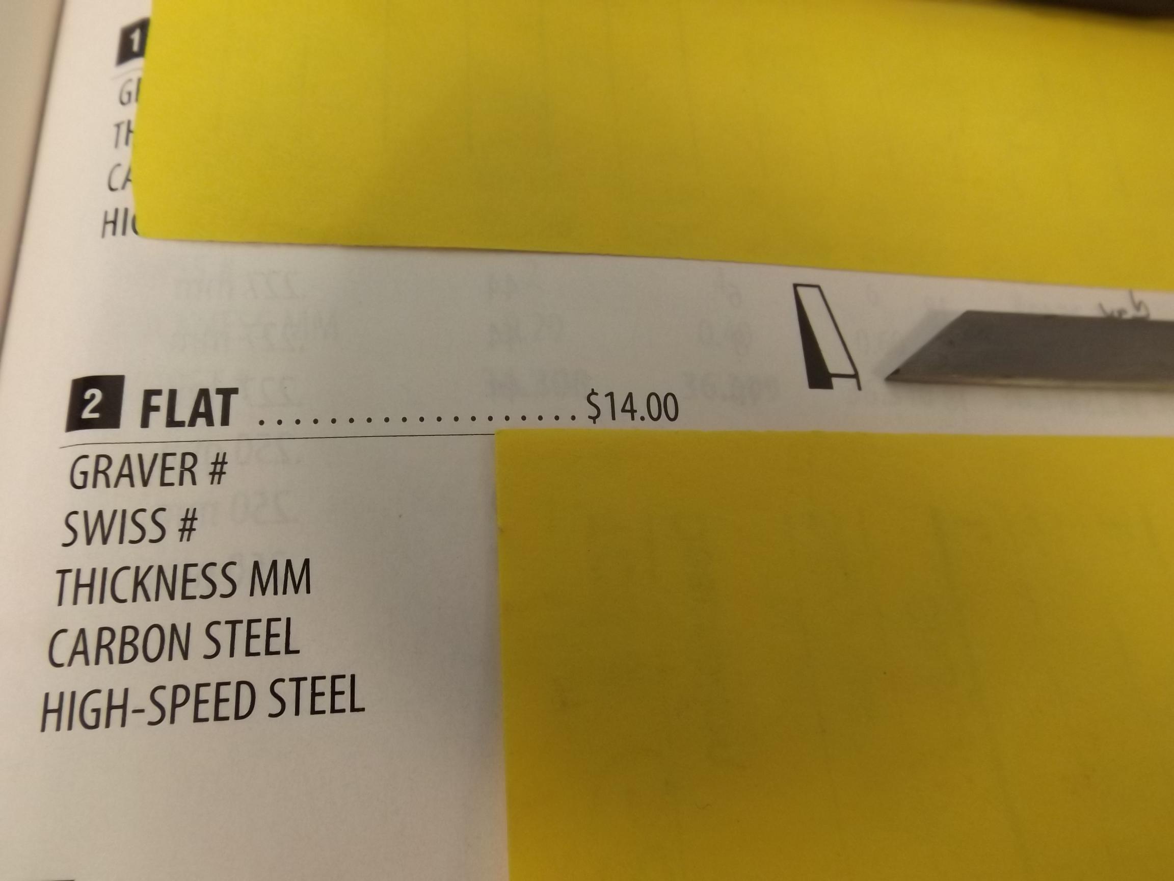GR500/41 Grobet Carbon Steel Gravers- Flat #36.141