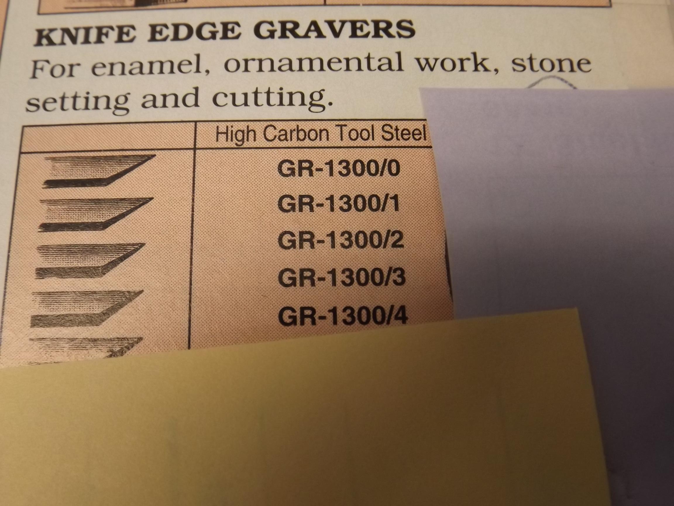 GR1300/3 Carbon Steel Knife Edge Graver--Grobet- #36.153