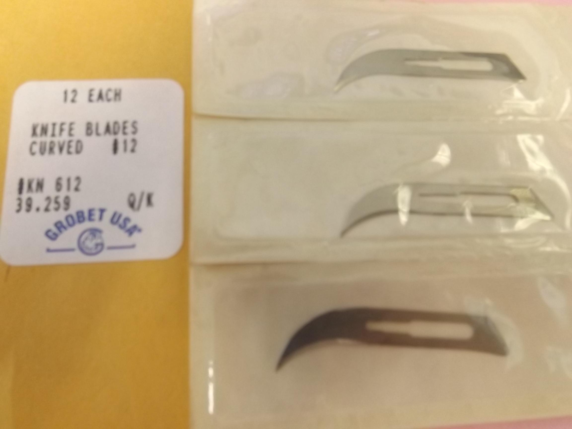 KN612 Knife Blades- #12- Curved- Dozen pkg- Discontinued item Grobet #39.259