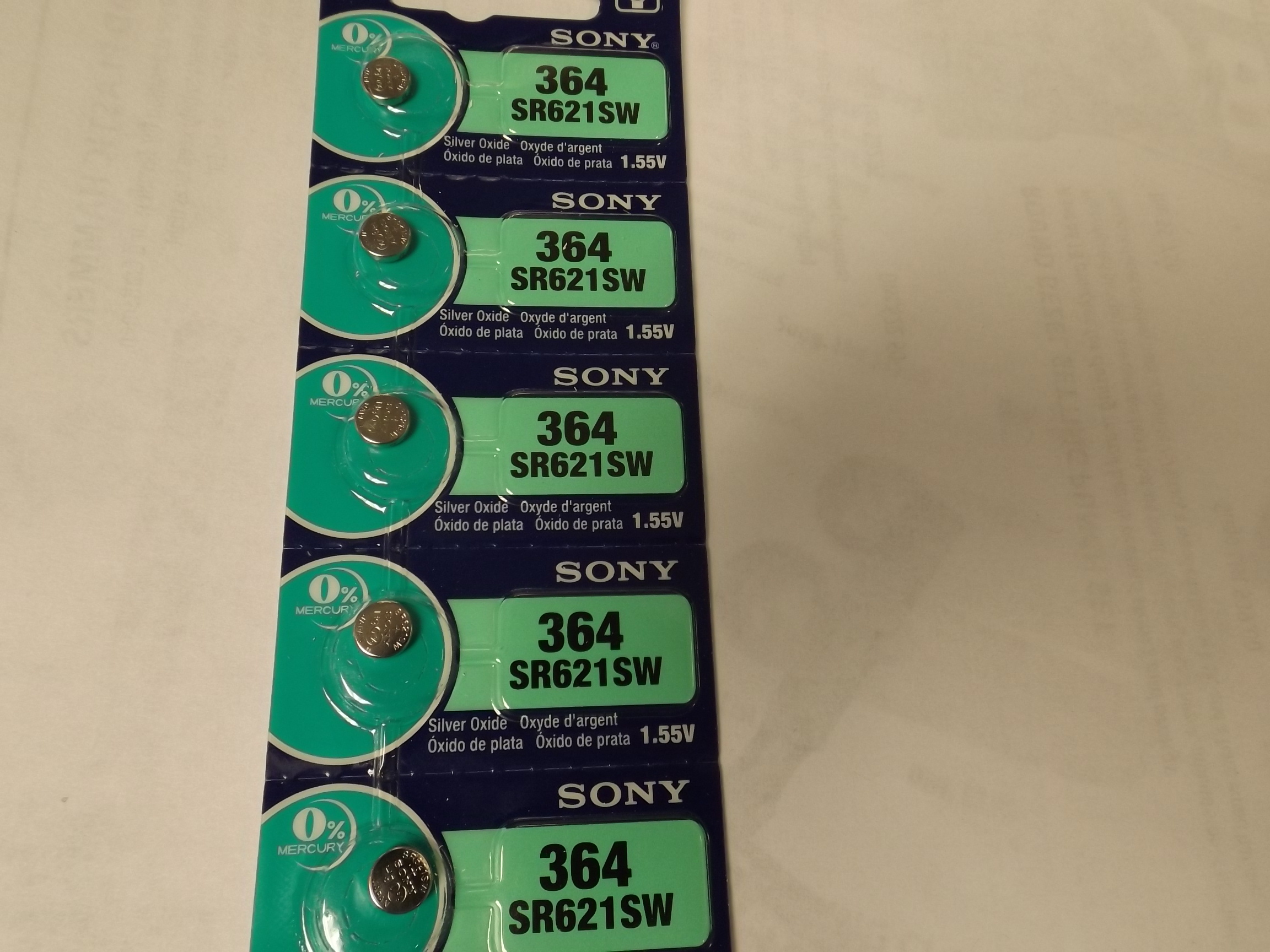 SON364 New! Sony/MuRata 364 Watch Batteries (SR621SW)