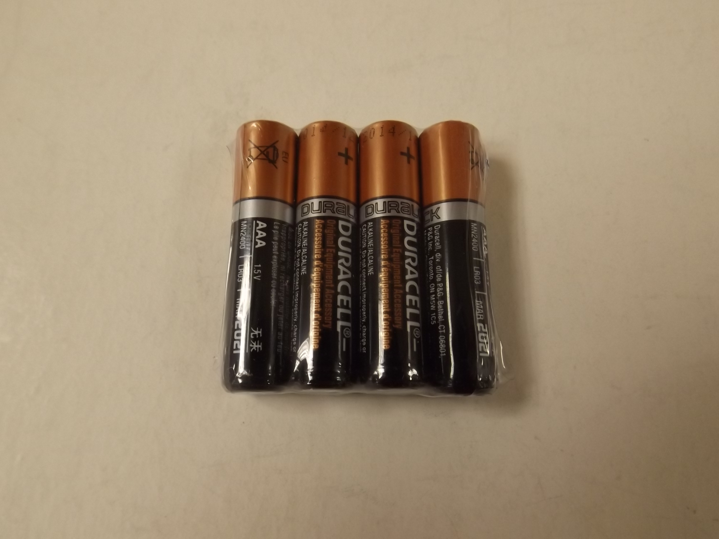 DURAAA New! Duracell AAA Alkaline Batteries-- 4 Pack!