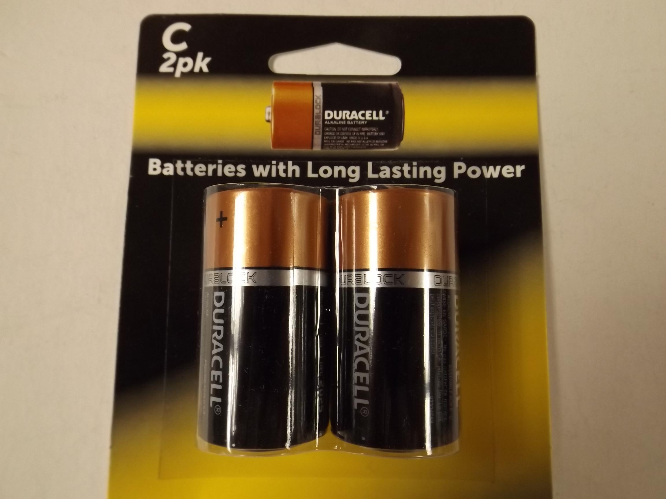 DURC New! Duracell C Alkaline Batteries-- 2 Pack!