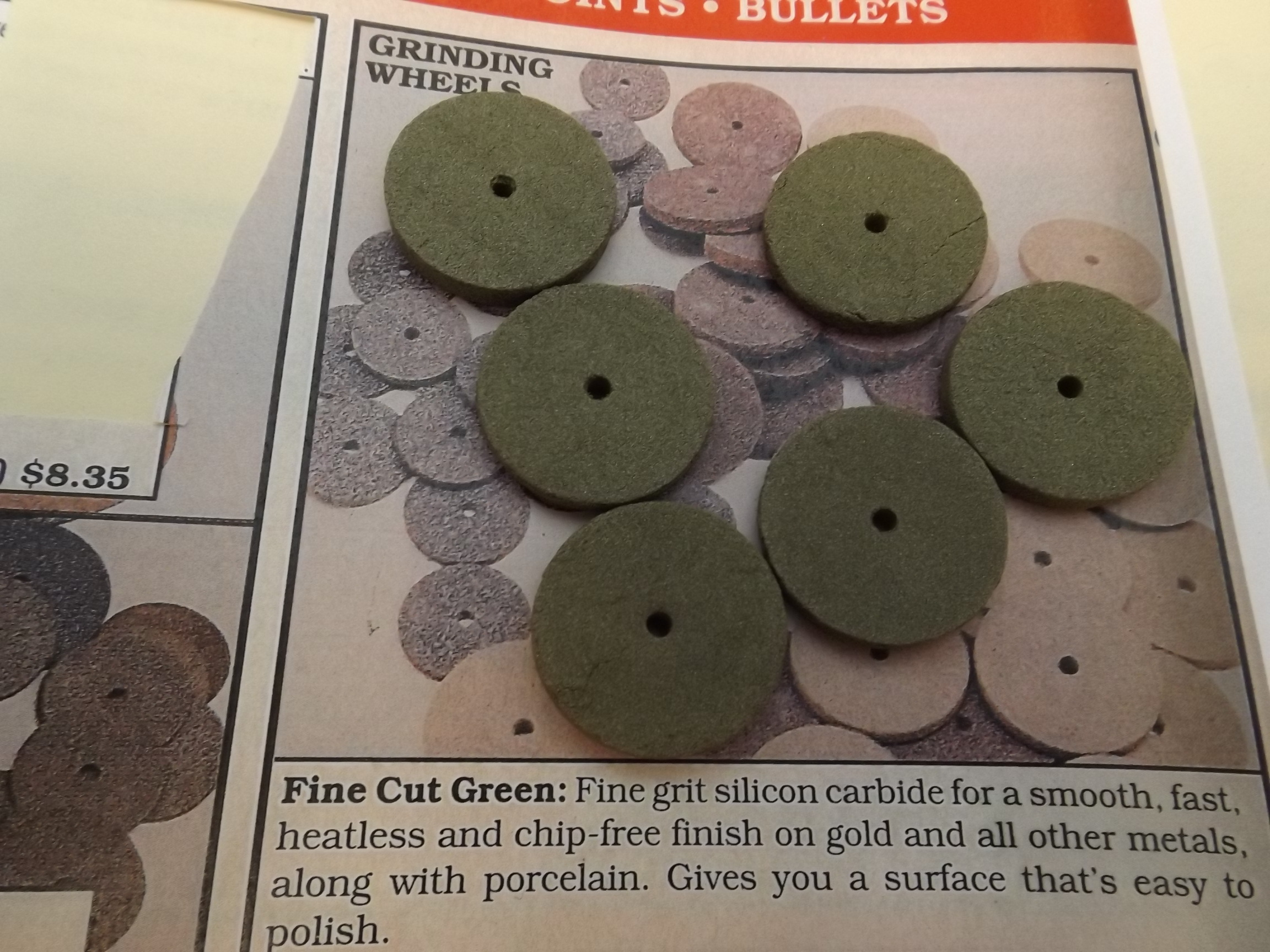 "ST1320 Fine Cut Green Grinding Wheels-- 7/8"" x 1/8""- bx of 100 Last Box! Grobet 11.786"