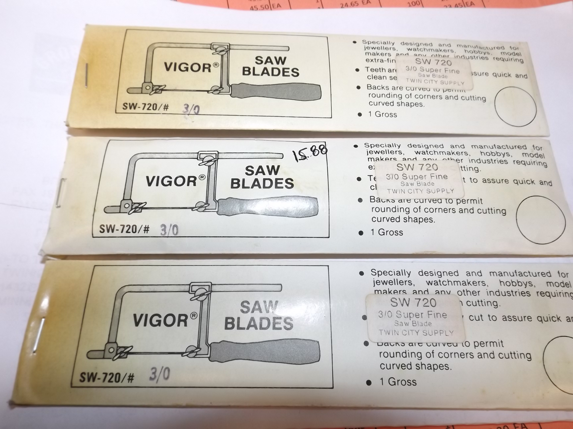 "SW720 3/0 Vigor ""Superfine"" Jeweler Saw Blades- Popular 3/0 size--Discontinued Product"