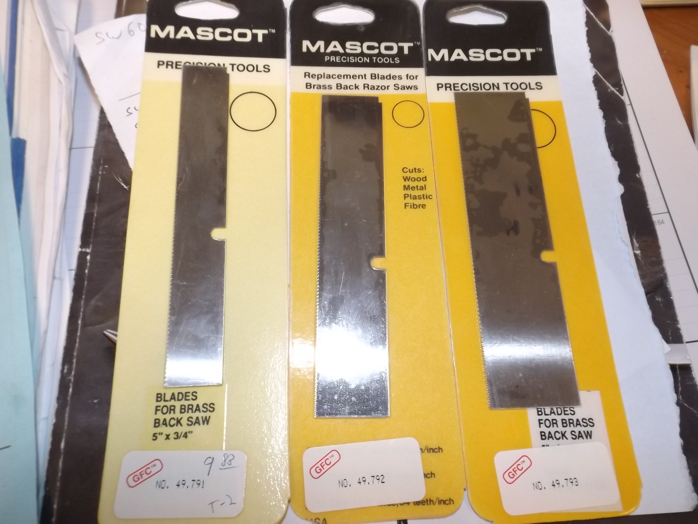 SW793 Replacement Blades for Brass Back Razor Saws-Mascot Brand by Grobet #49.793 Discontinued