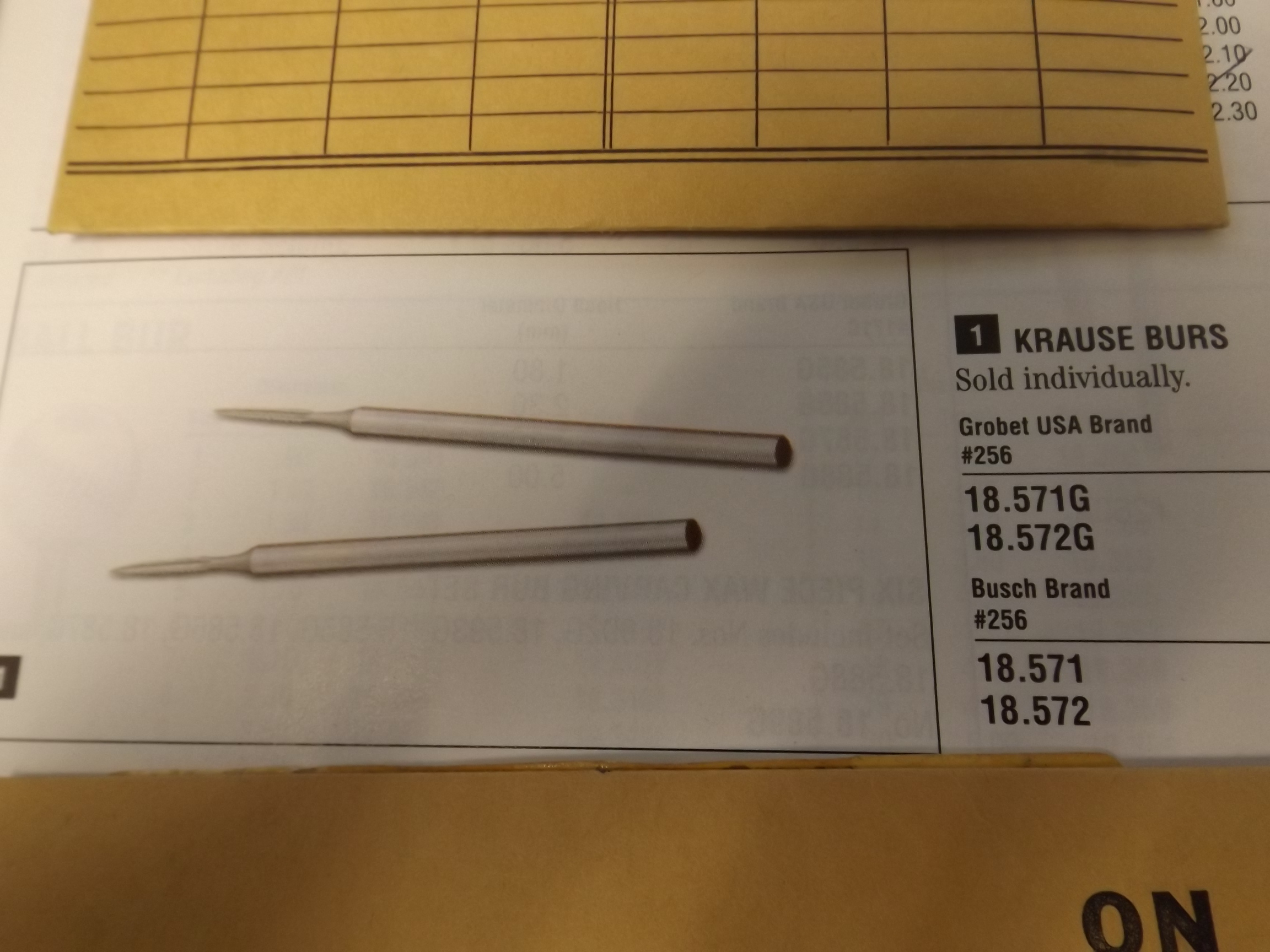 BR18.572G Krause Burs- Grobet Brand--4 pieces left!
