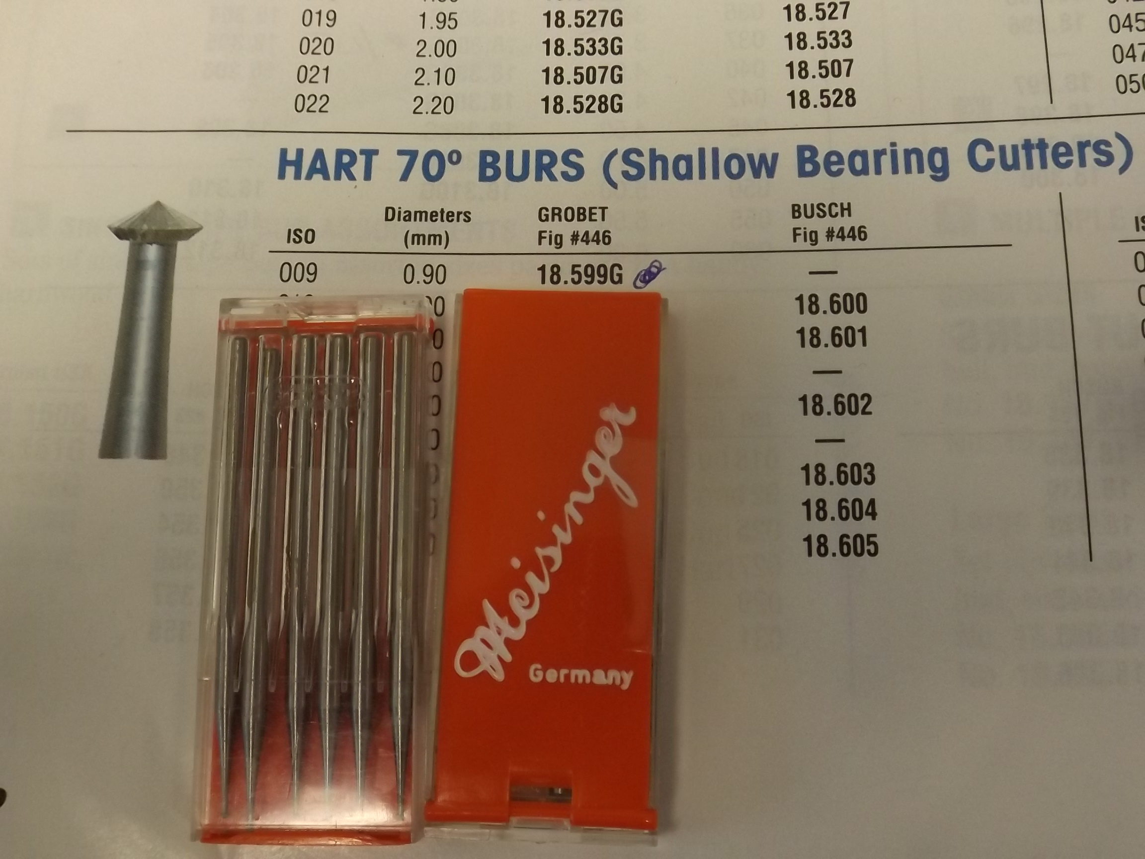 BR18.599G Hart 70* (Bearing Cutters) Burs- Meisinger Brand--2 pkg's of 6 left!