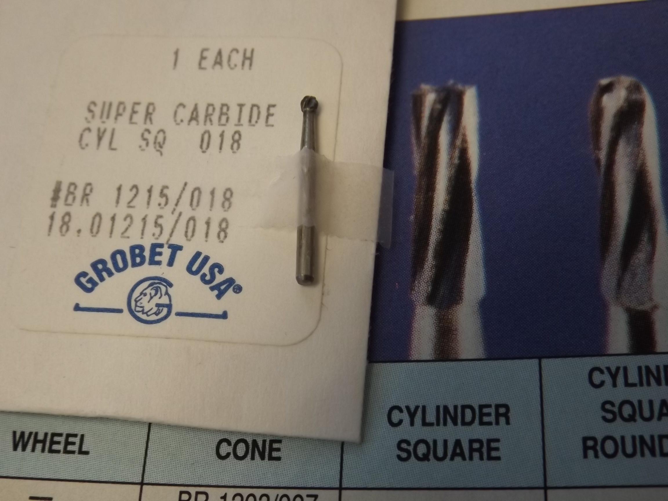 BR1215/18.01215 Super Carbide Cylinder Square Burs- discontinued item- Grobet