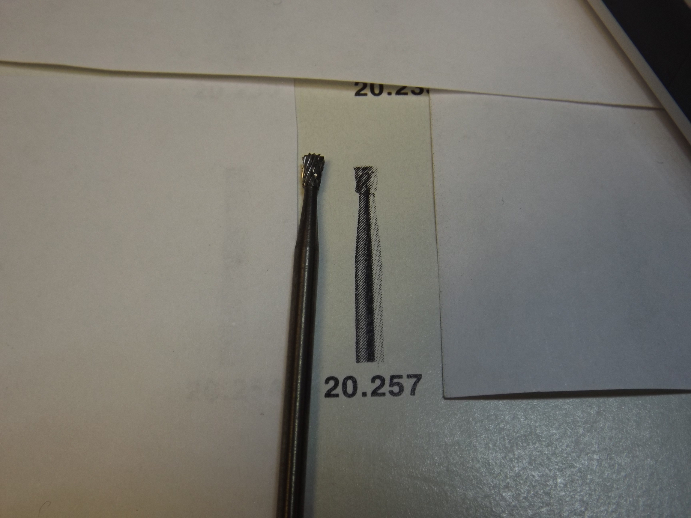 "20.257 Carbide Bur, Diamond Cut, Inverted Cone,  with 3/32"" shank- while they last!- Grobet"