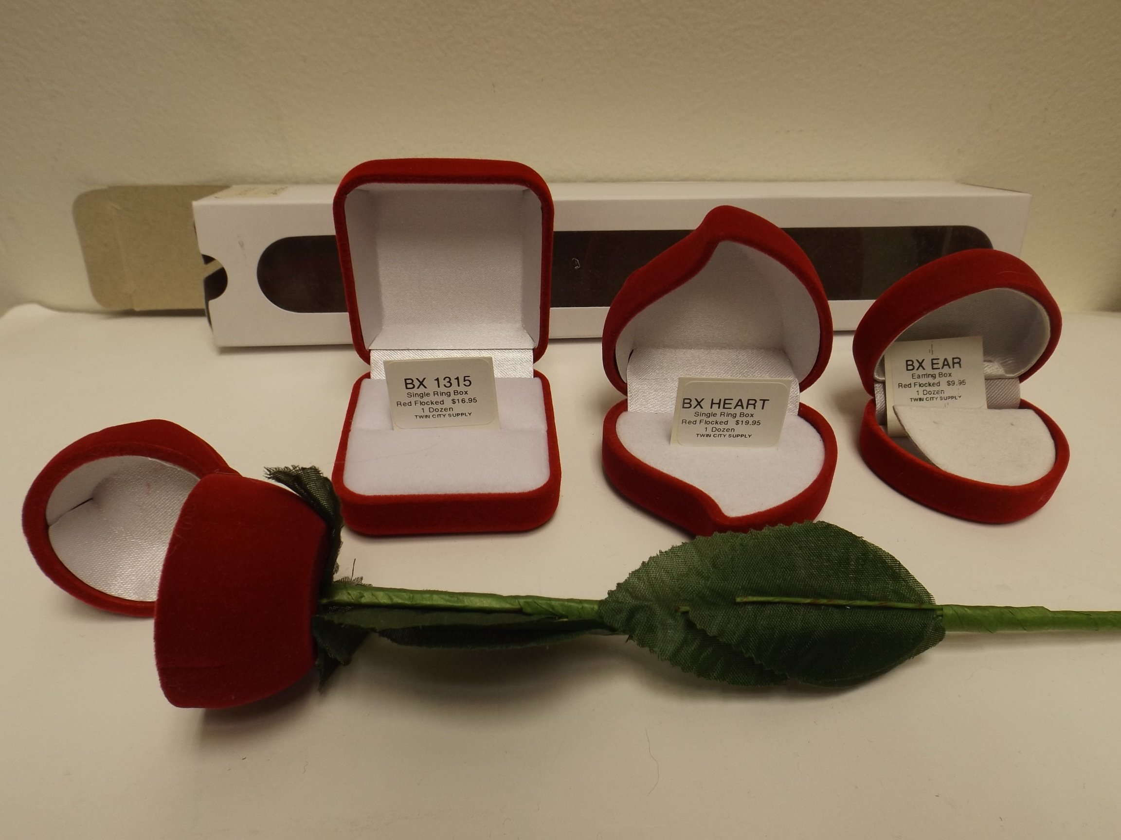 BX1315 Red Flocked Single Ring Boxes-- sold by the dozens