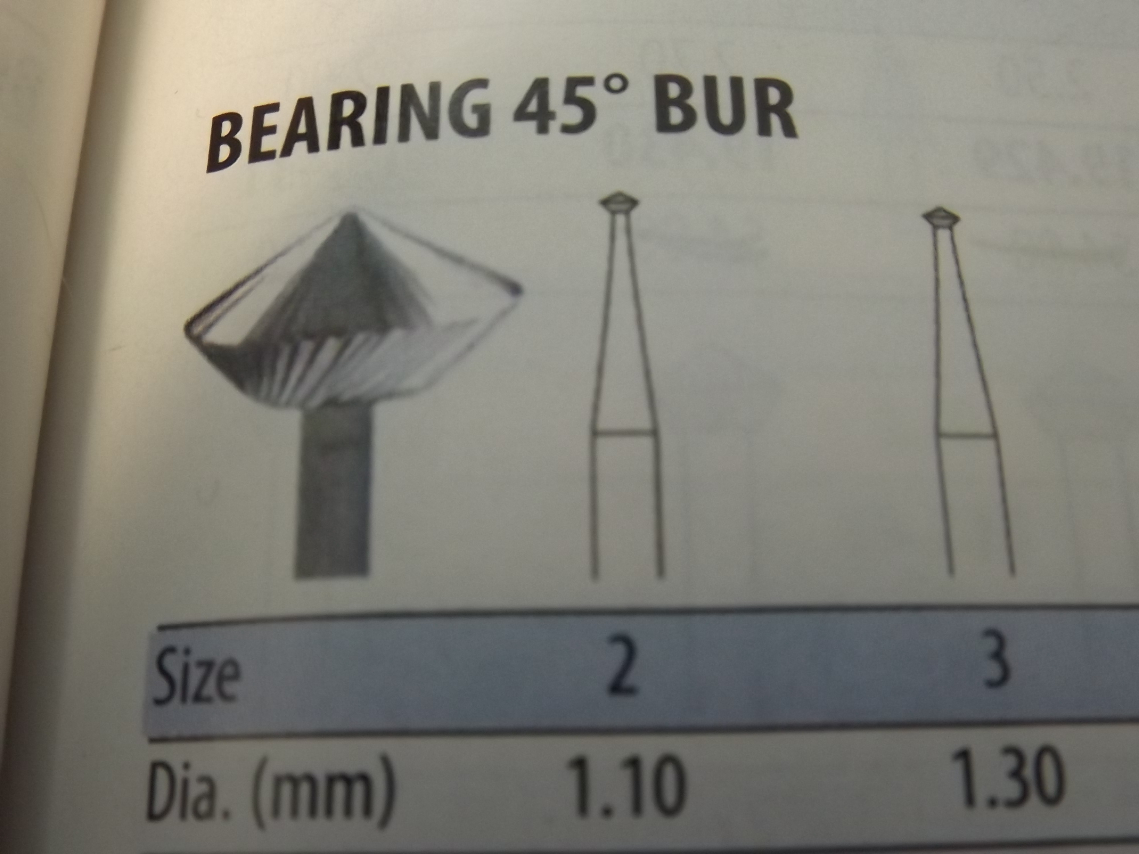 BR763/20 Hi Speed Steel 45* Bearing Burs #20--Grobet #19.400