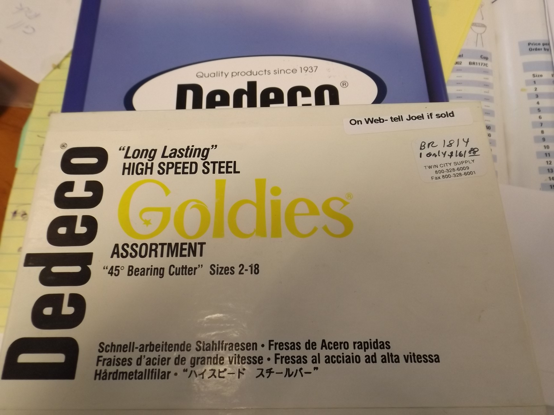 BR1814 Dedeco Goldies High Speed Steel 45* Bearing Cutter Bur Assortment--17 pieces-One only!