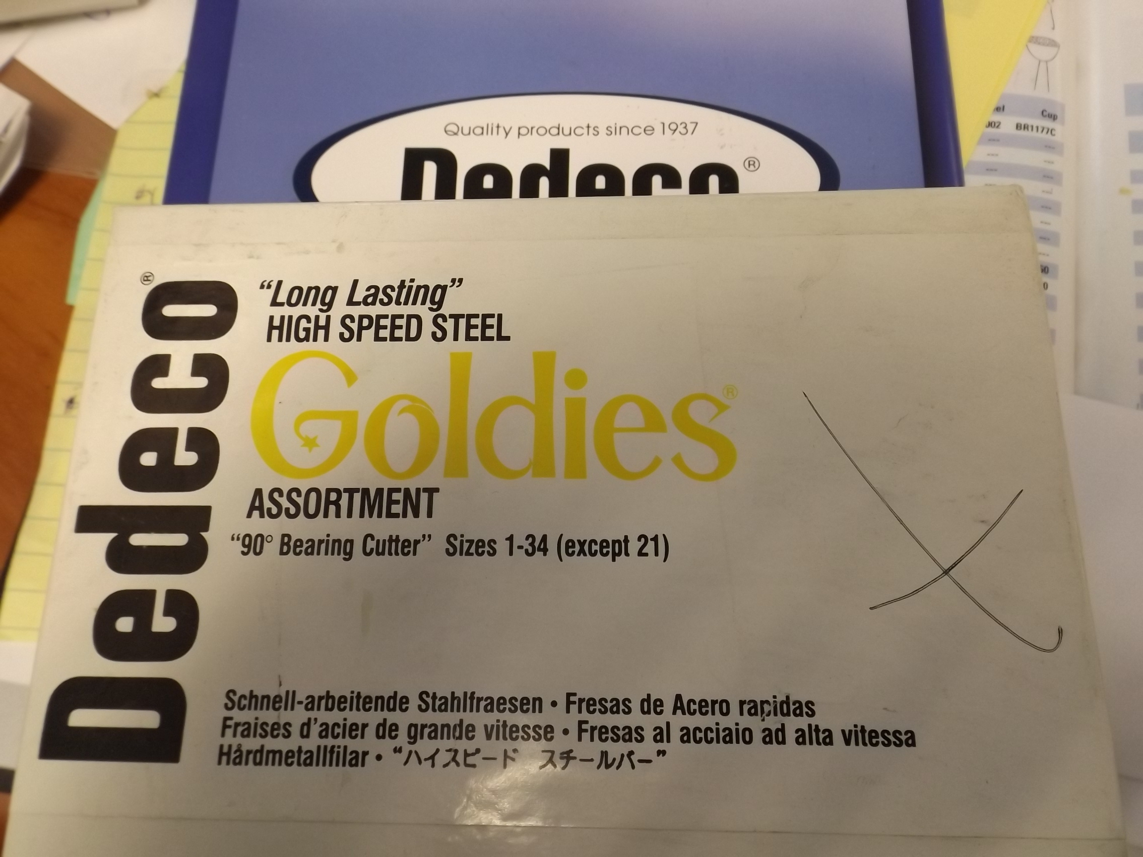 BR1795/M Dedeco Goldies High Speed Steel 90* Bearing Cutter Bur Assortment--28 pieces- One Only, Missing 5 pieces
