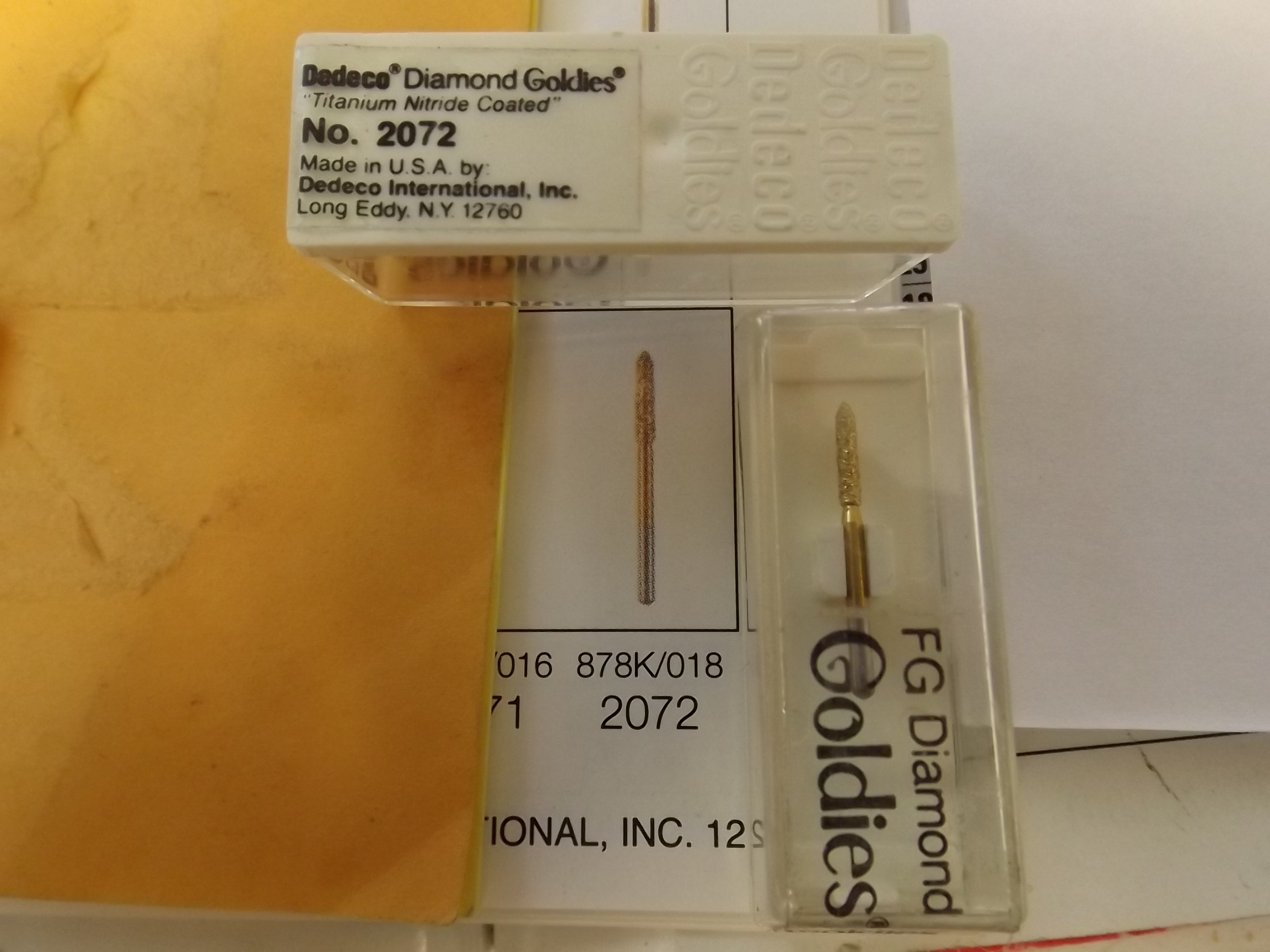 BR2072 Dedeco Diamond Goldies--Gingival Curettage--FG Shank- TWO Only! Dental