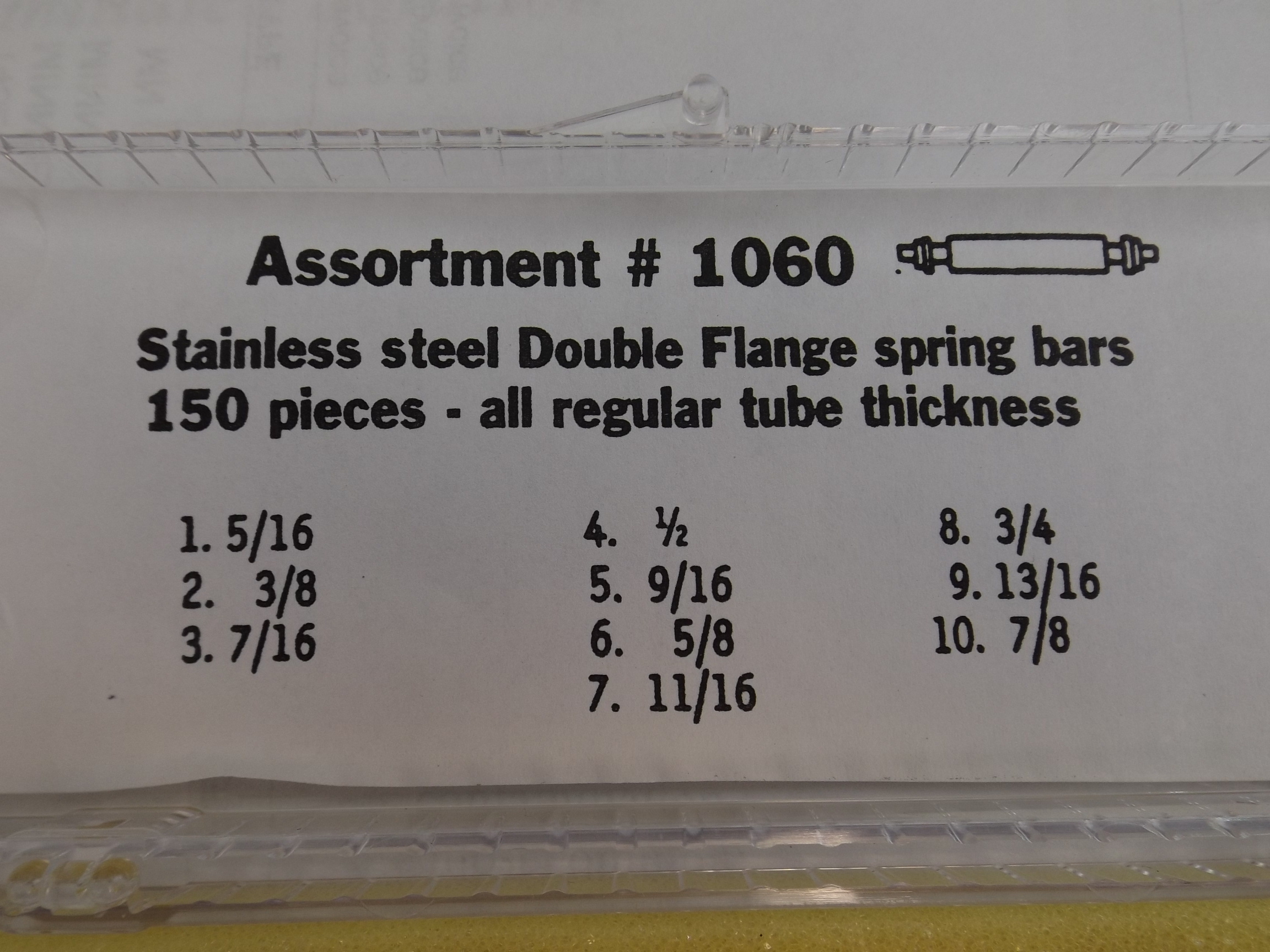 XSB1060A New! Stainless Steel Double Flange Spring Bar Assortment-150 pieces- Acon