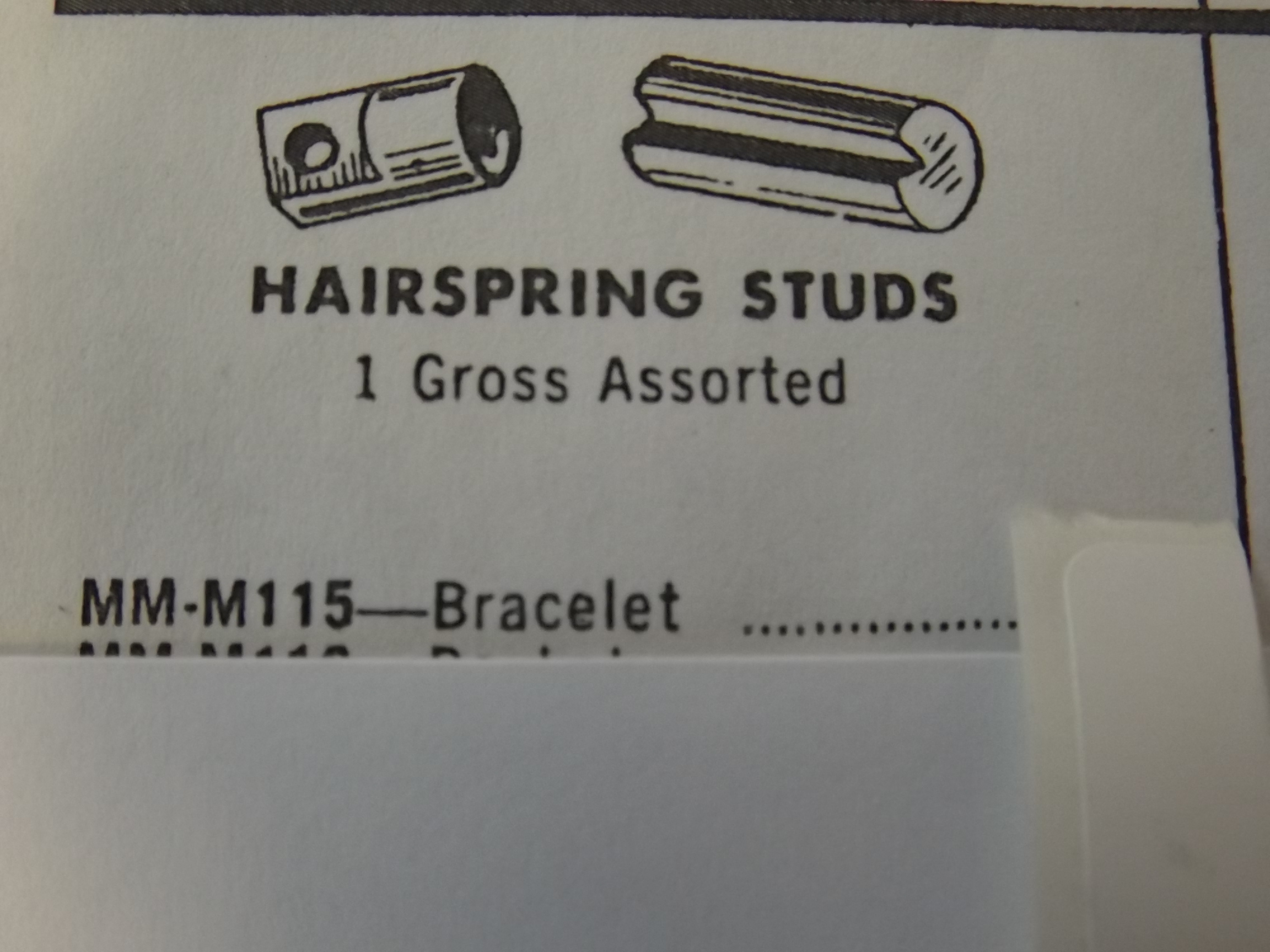 MM-M115 Hairspring Studs, Bracelet- 1 Gross- Bestfit- Five Only!