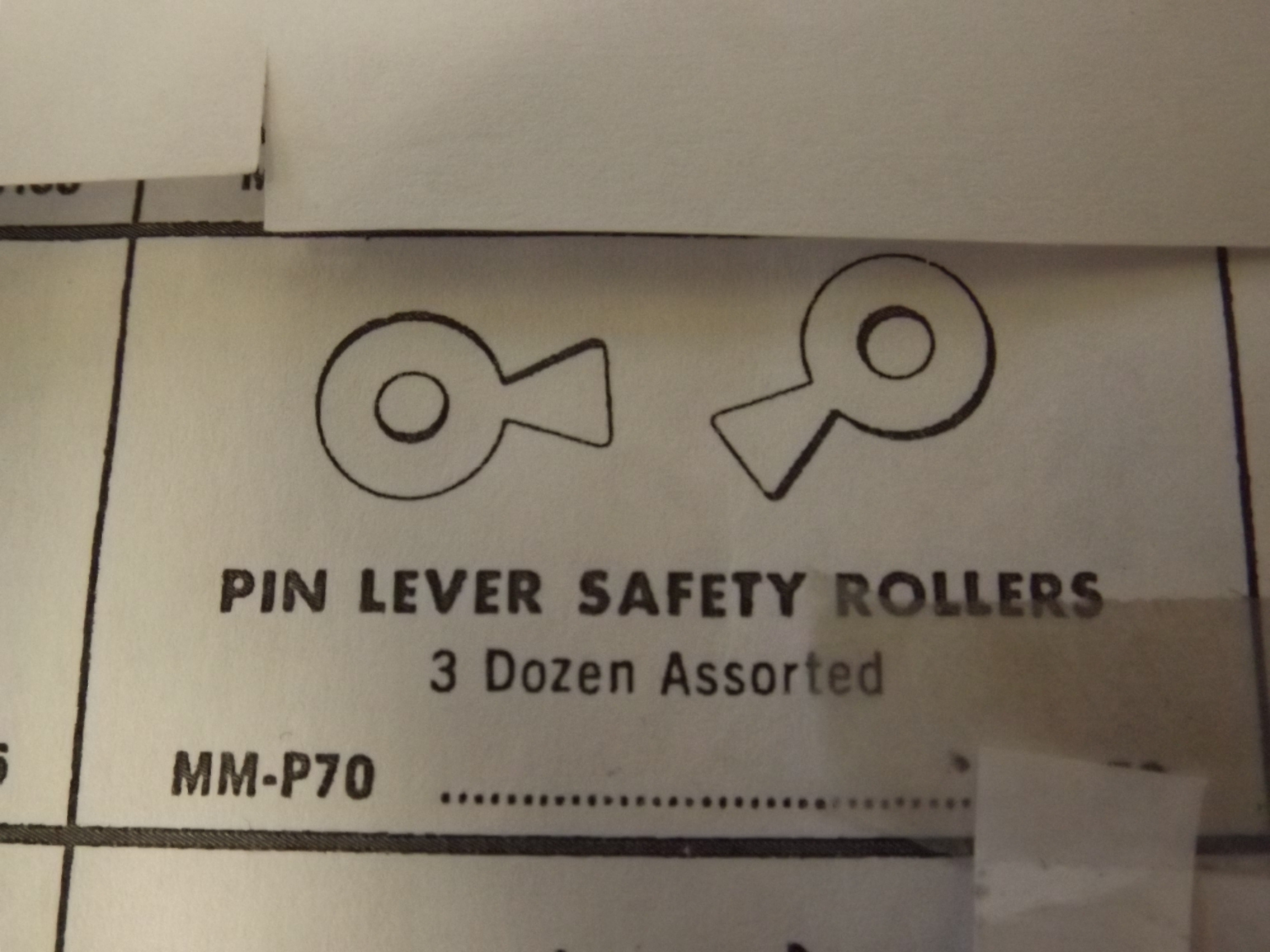 MM-P70 Pin Lever Safety Rollers- 3 dz per pkg- Bestfit- Seven Only!