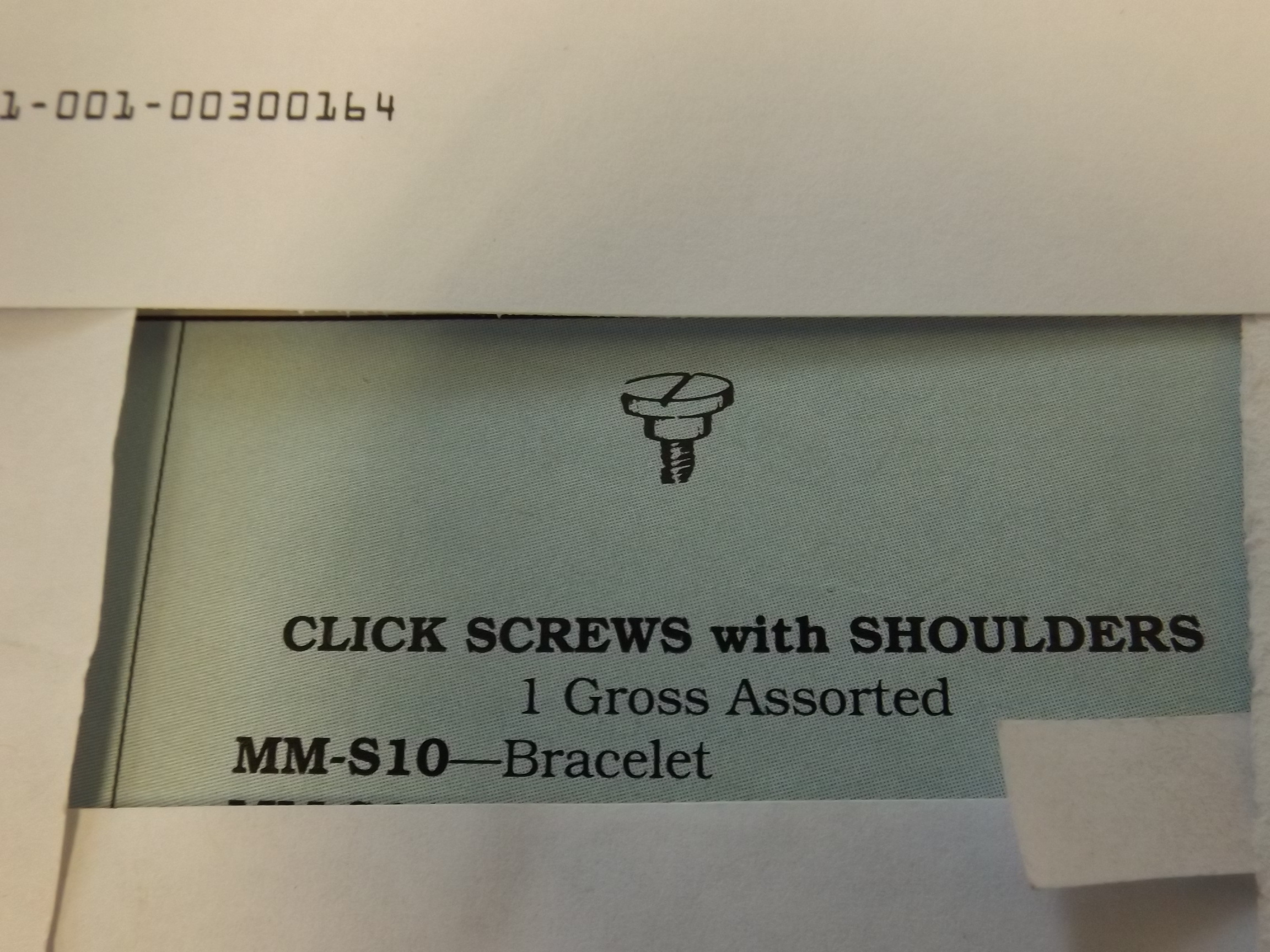 MM-S10 Click Screws, with shoulder-Bracelet - Bestfit - 1 Only!