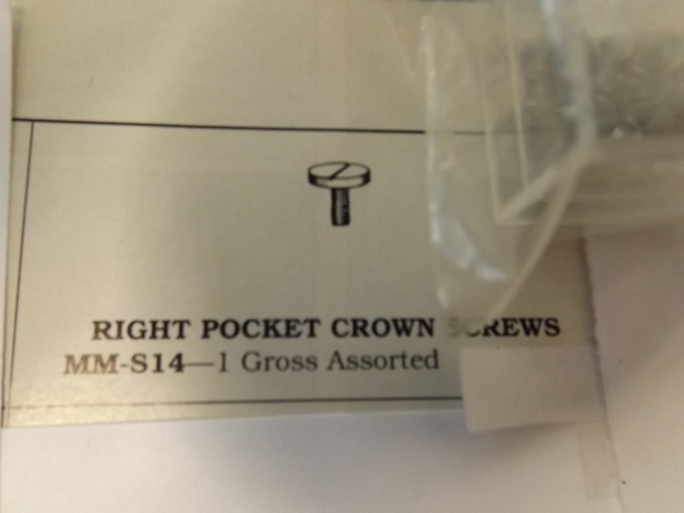 MM-S14 Right Pocket Crown Screws- 1 Gross- Bestfit- One Only!