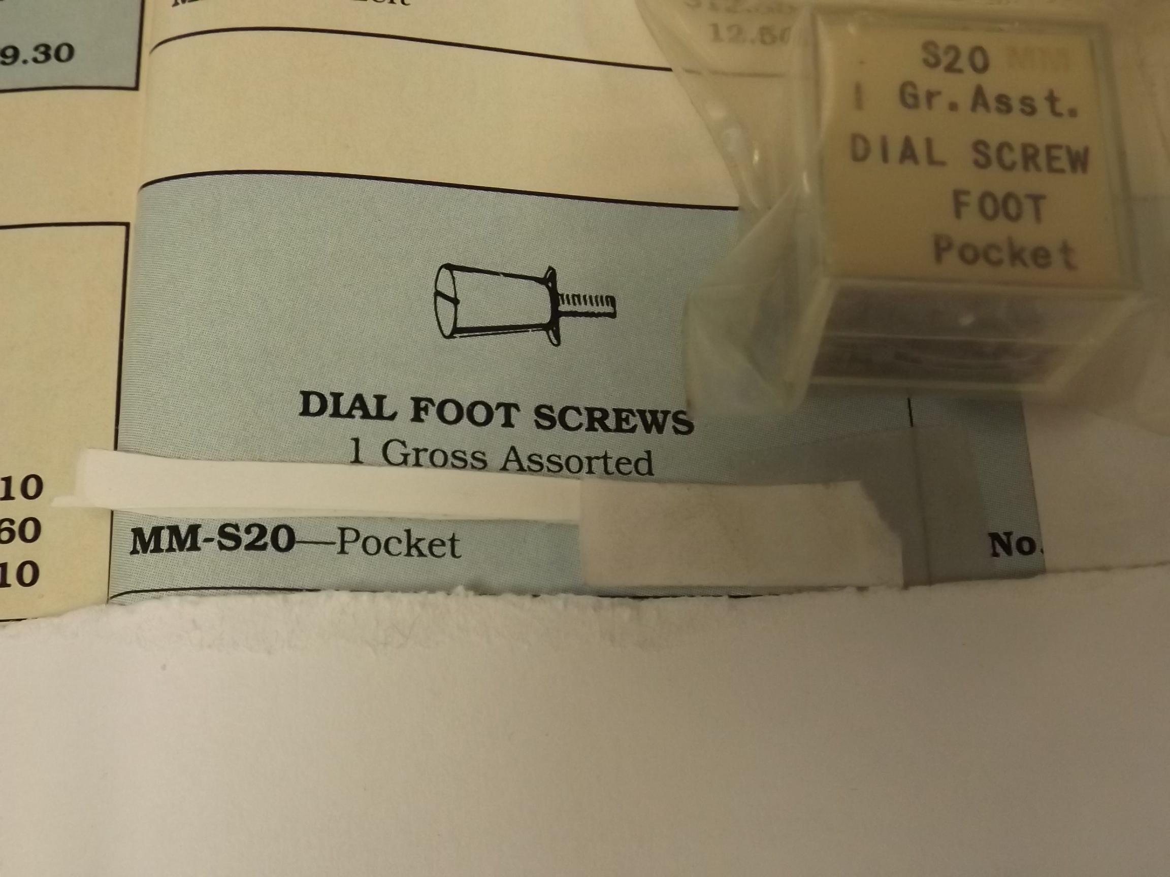 MM-S20 Dial Foot Screws, Pocket- 1 Gross- Bestfit- Three Only!